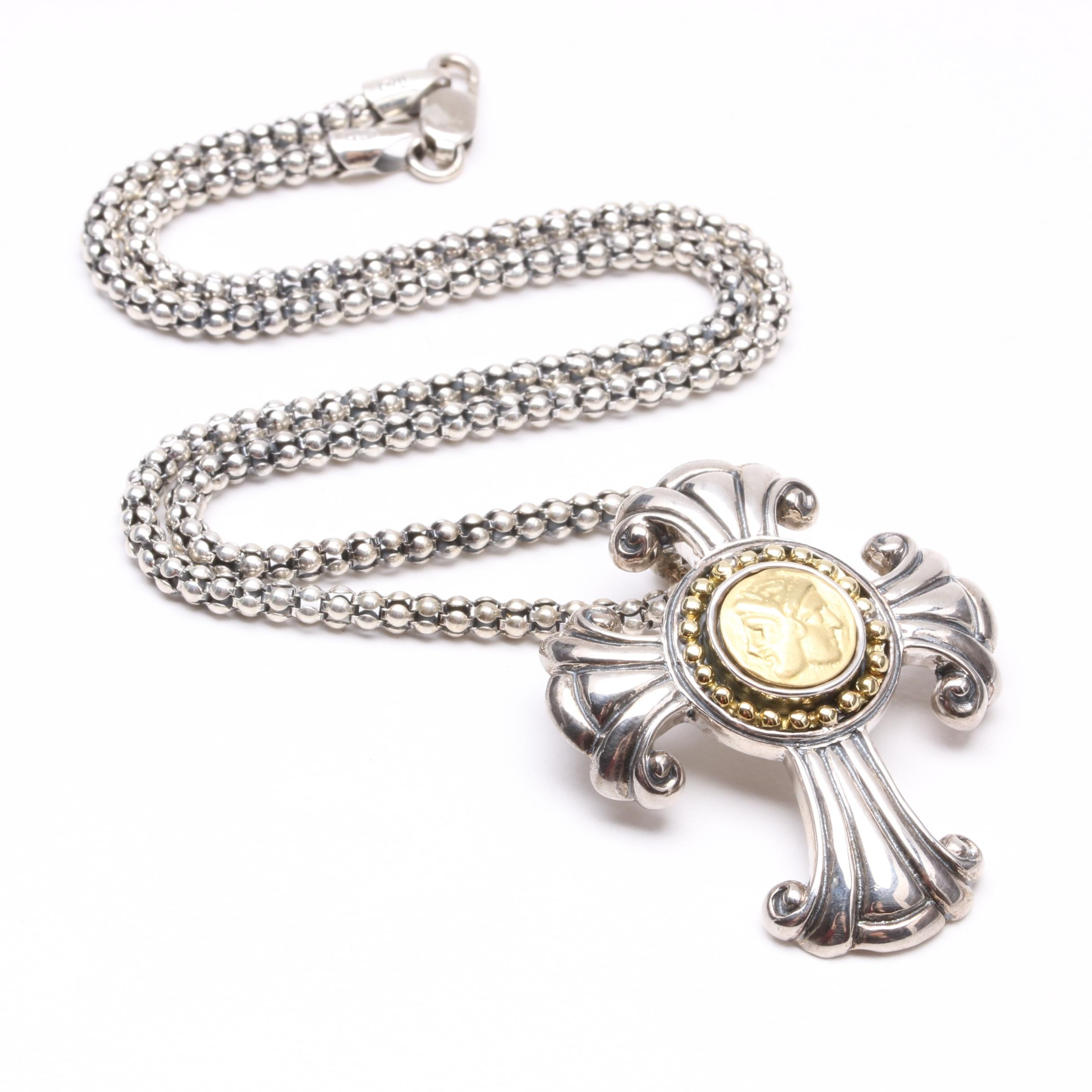 Sterling Silver with 18K Gold Accents Cross Enhancer Pendant Necklace