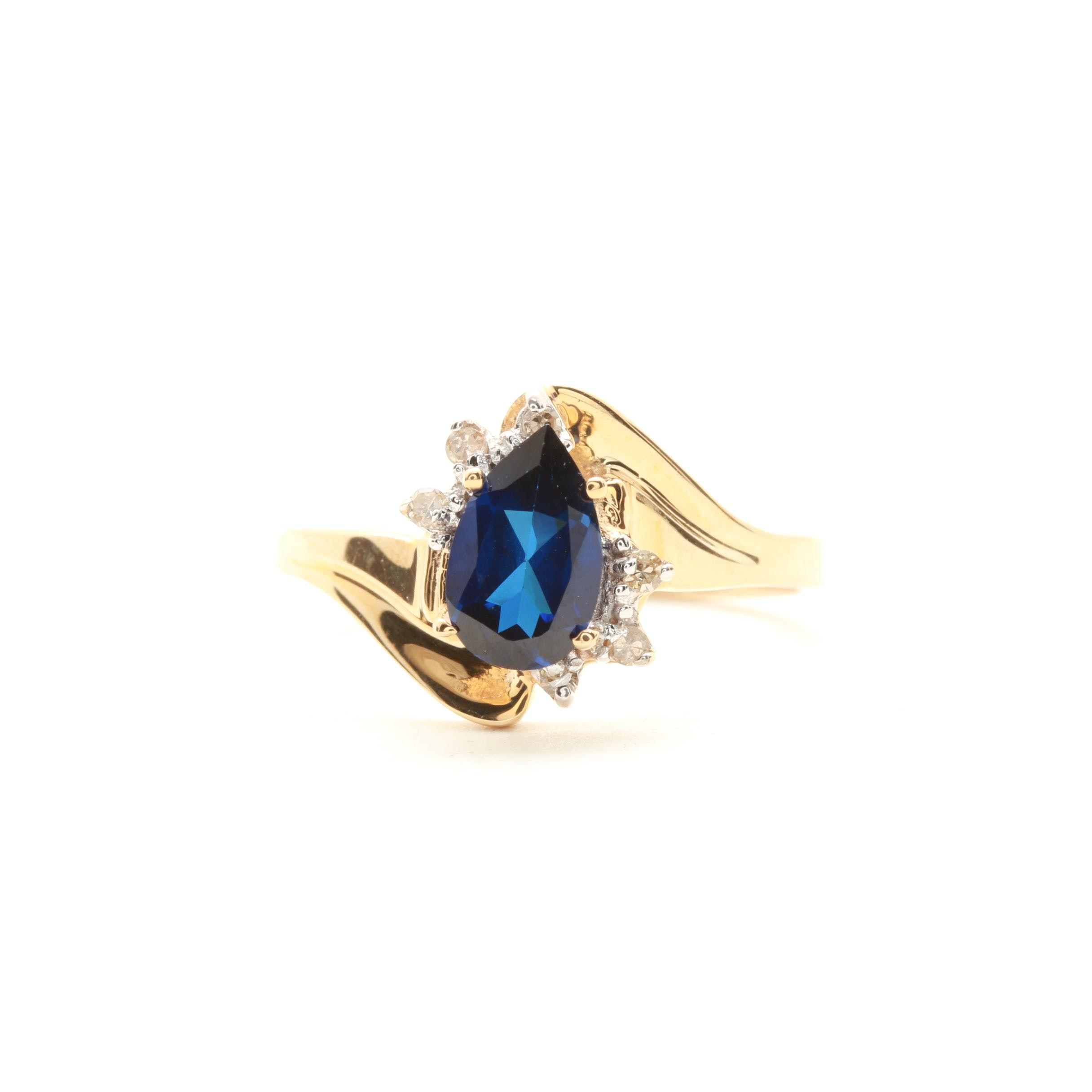 10K Yellow Gold Synthetic Sapphire and Diamond Ring