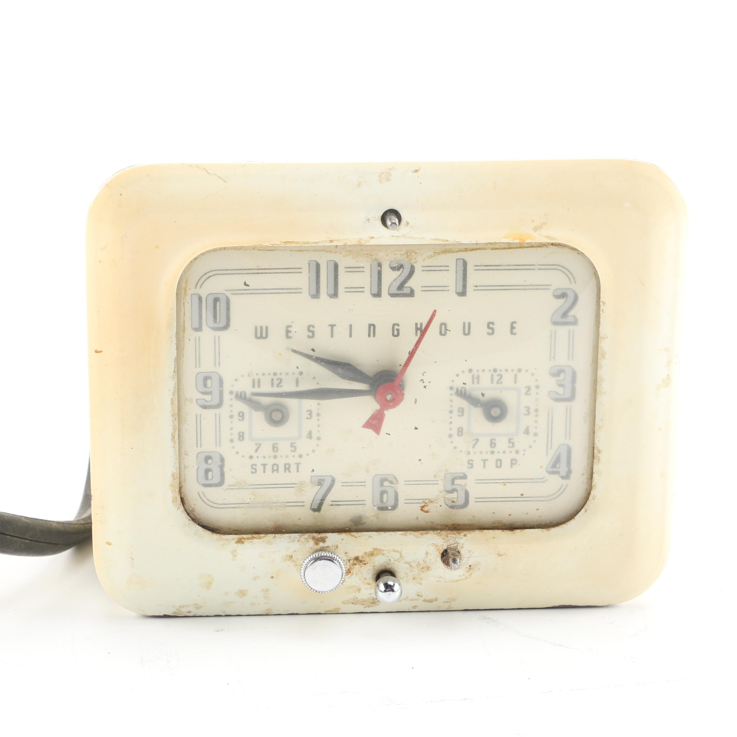 1950s Westinghouse Enameled Stove Clock and Timer