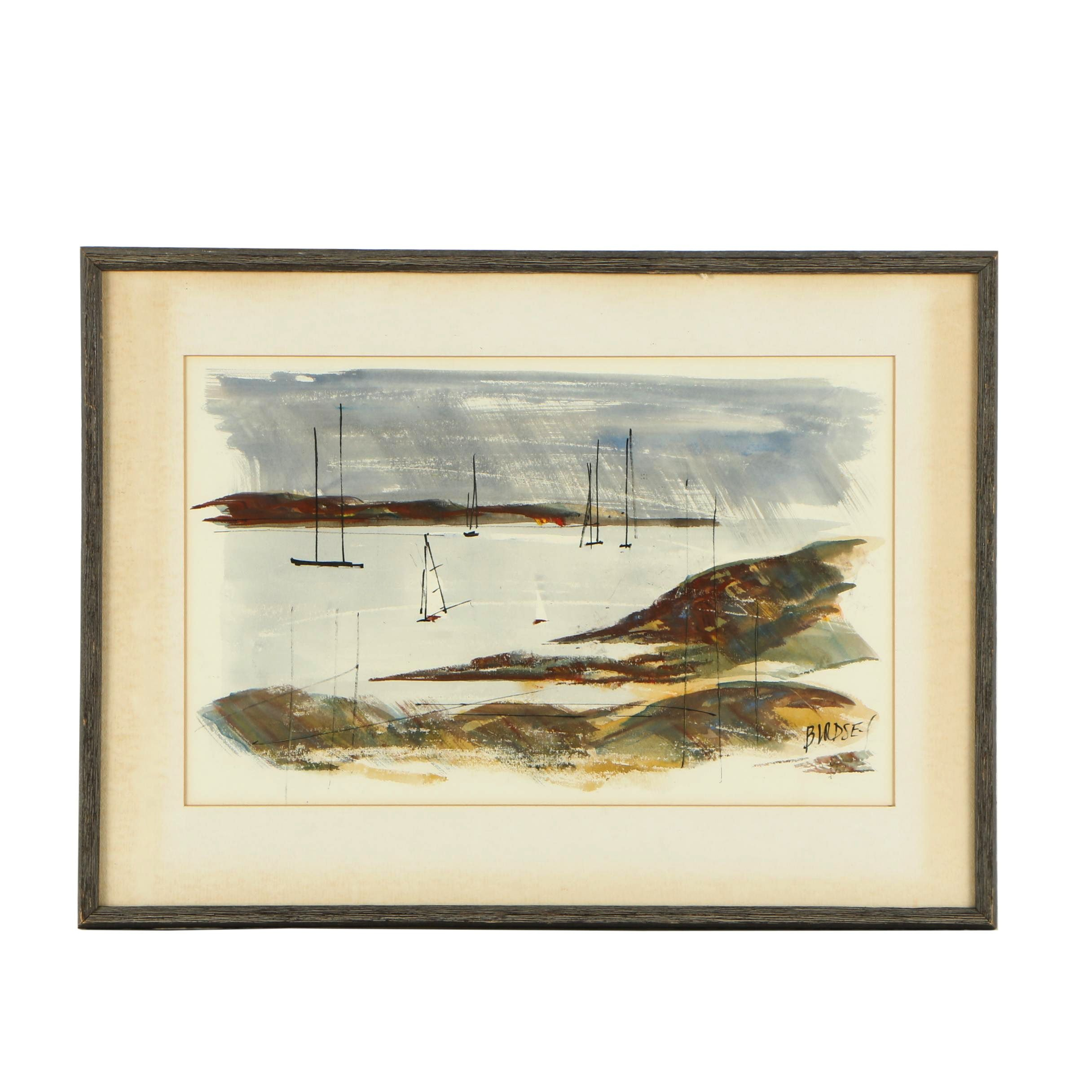 Alfred Birdsey Watercolor and Gouache Painting of Abstract Harbor