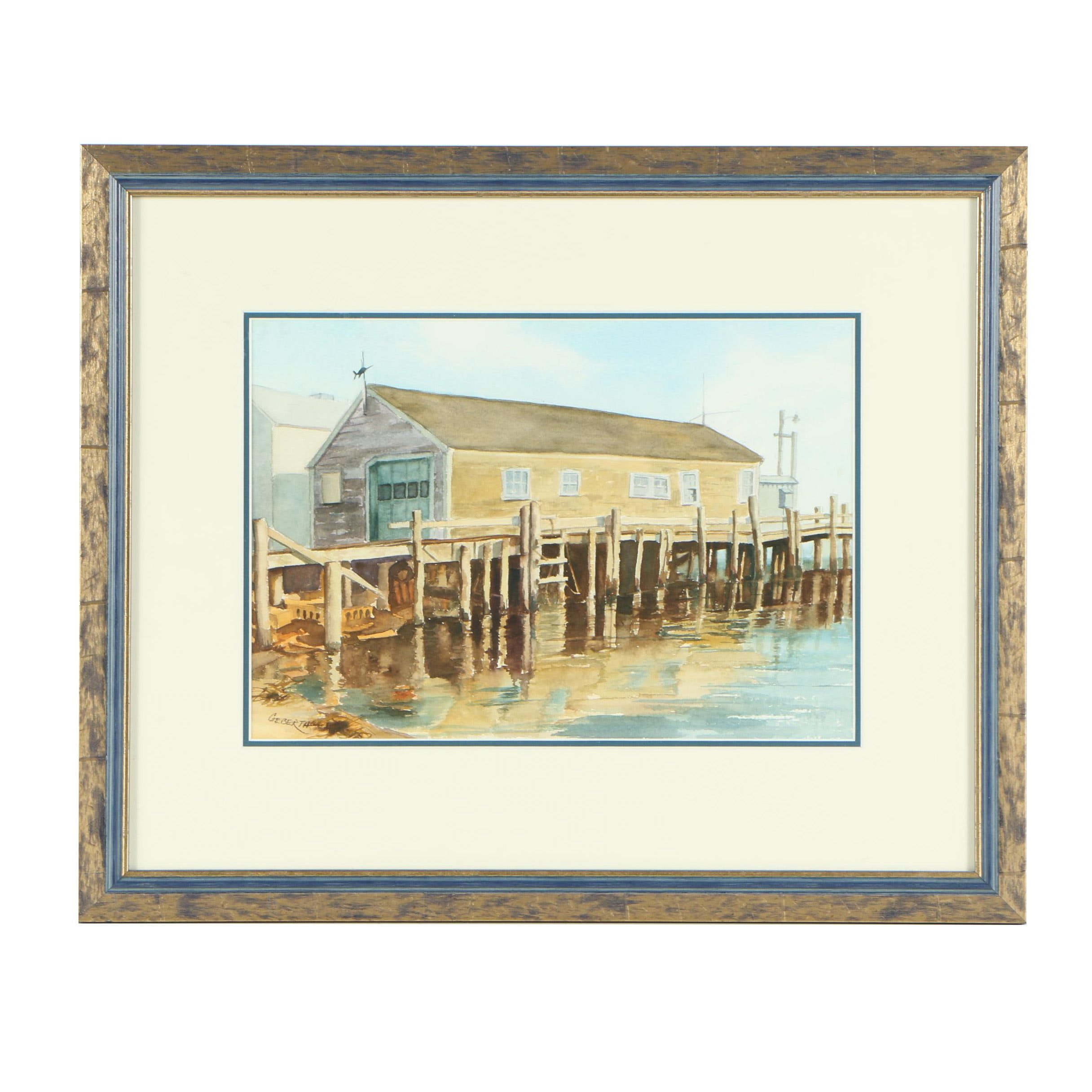 Geberth Watercolor Painting of Building on a Dock