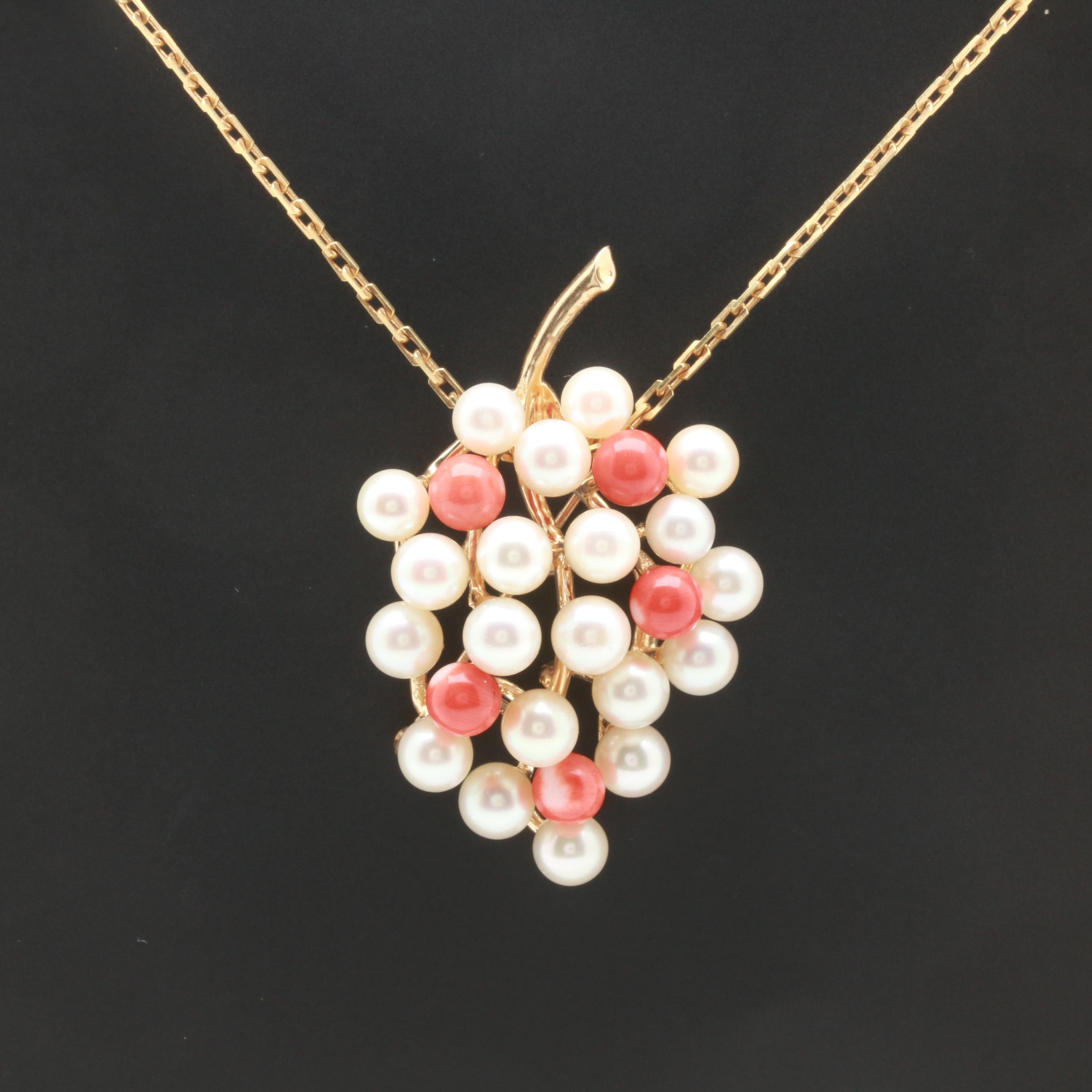 14K Yellow Gold Coral and Cultured Pearl Brooch With Chain