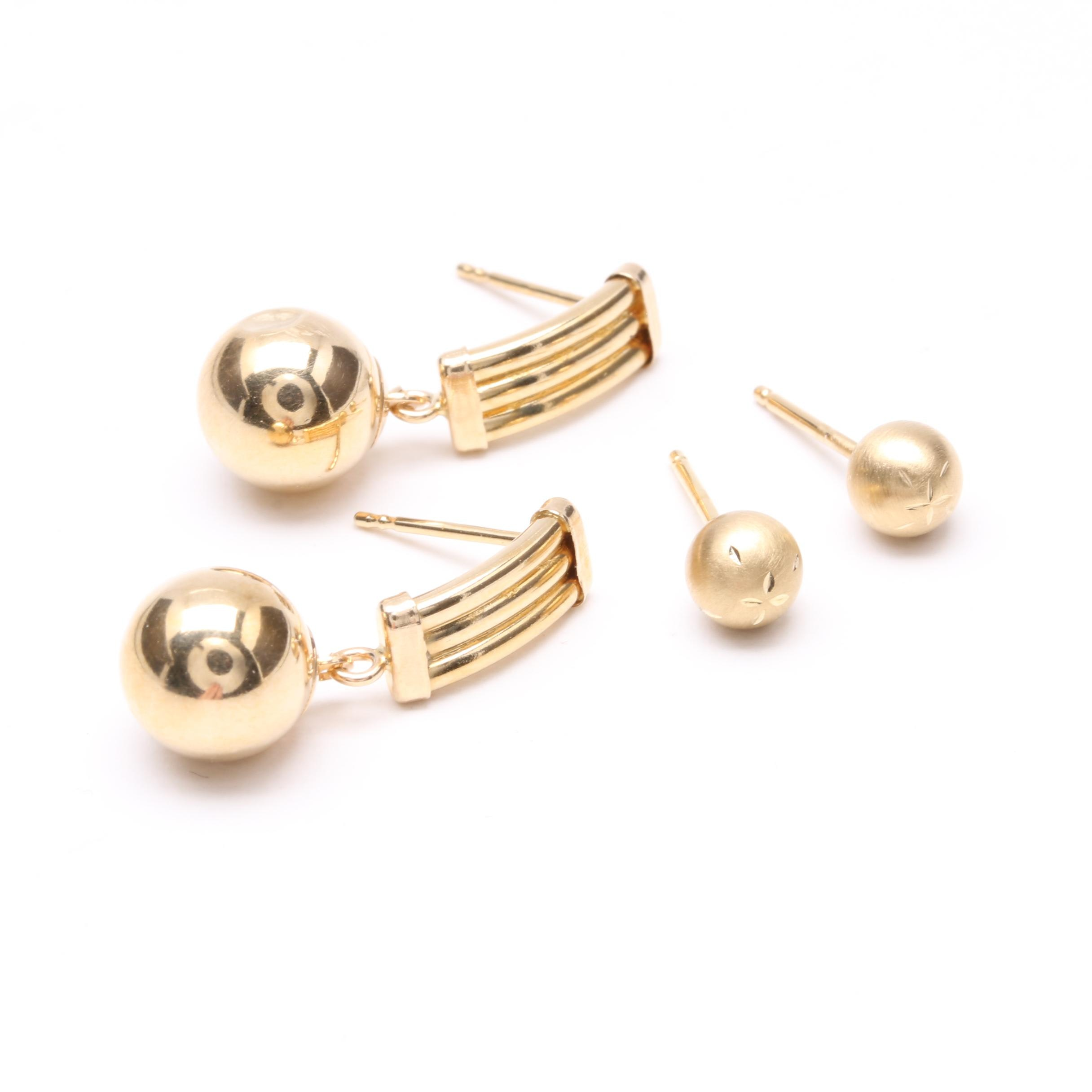 14K Yellow Gold Sphere Earring Selection