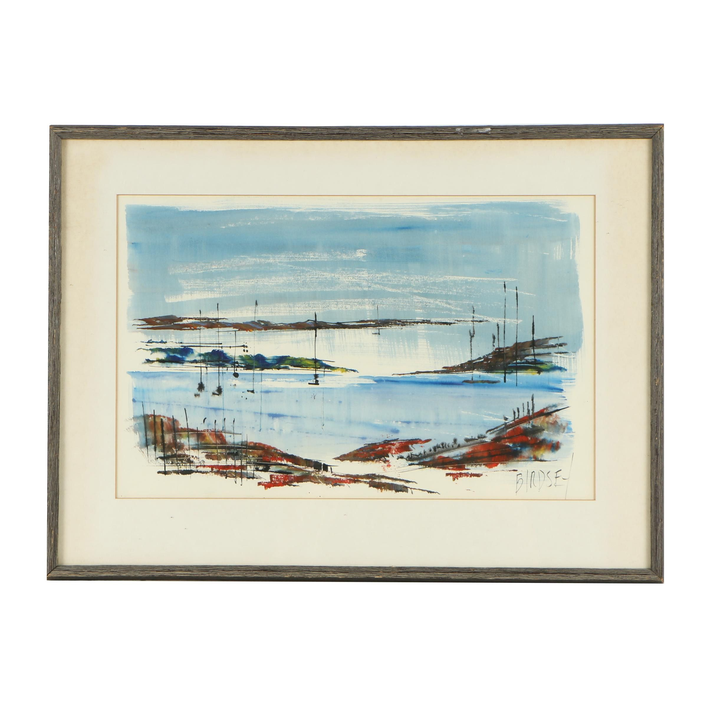 Alfred Birdsey Watercolor and Gouache Painting of Abstract Landscape