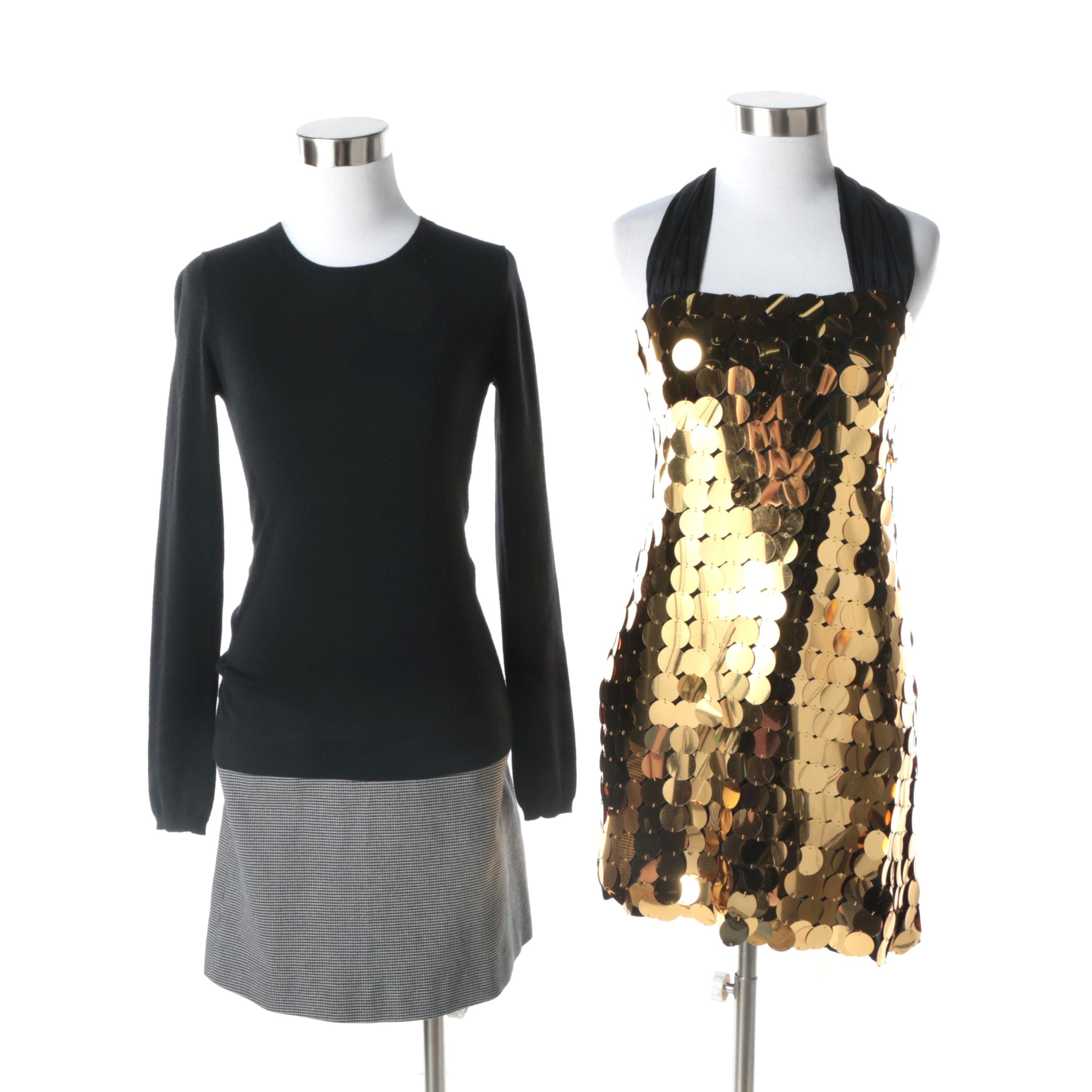 Theory Wool Sweater Dress and Alice + Olivia Gold Spangle Dress