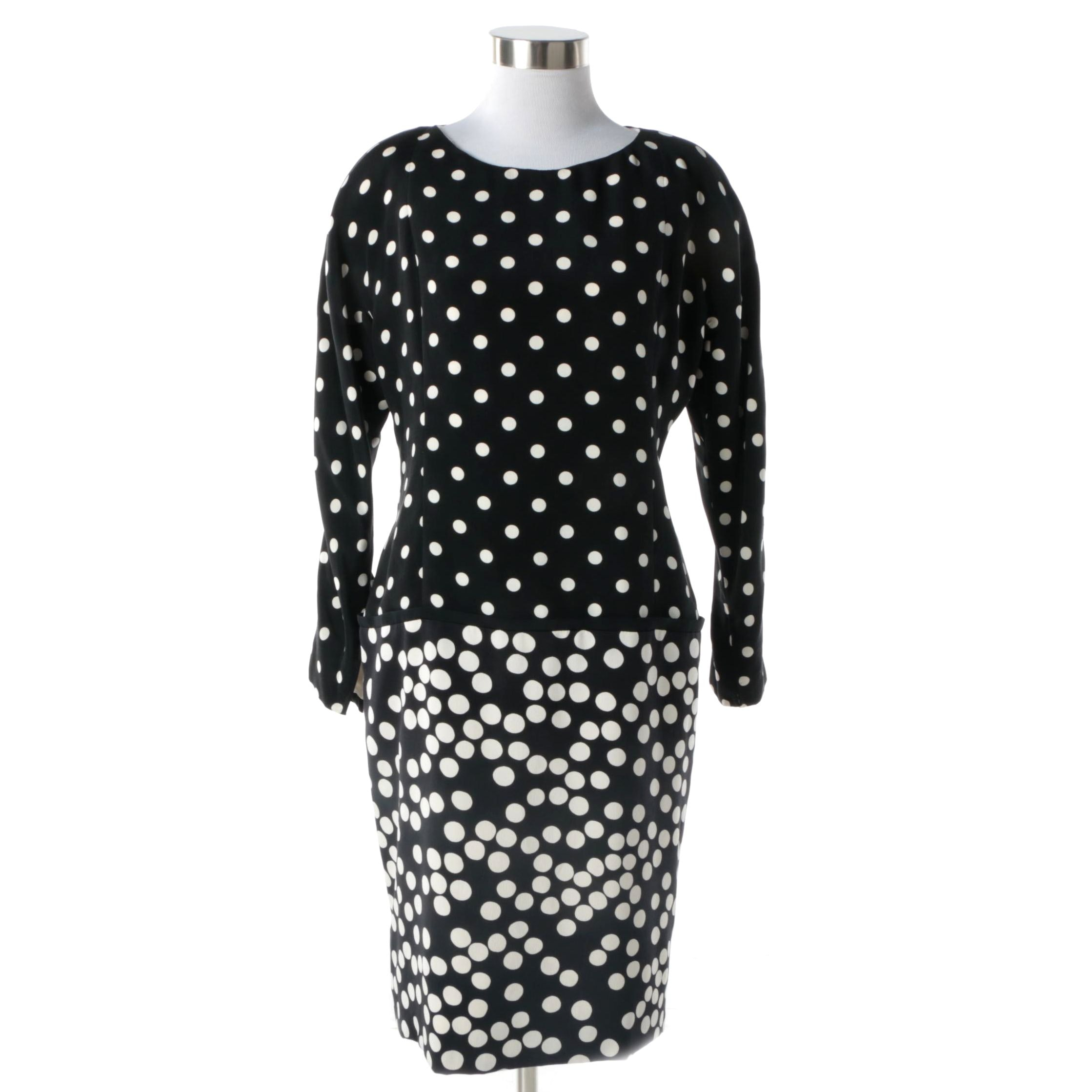 1980s Vintage Galanos Drop Waist Black and White Polkadot Cocktail Dress