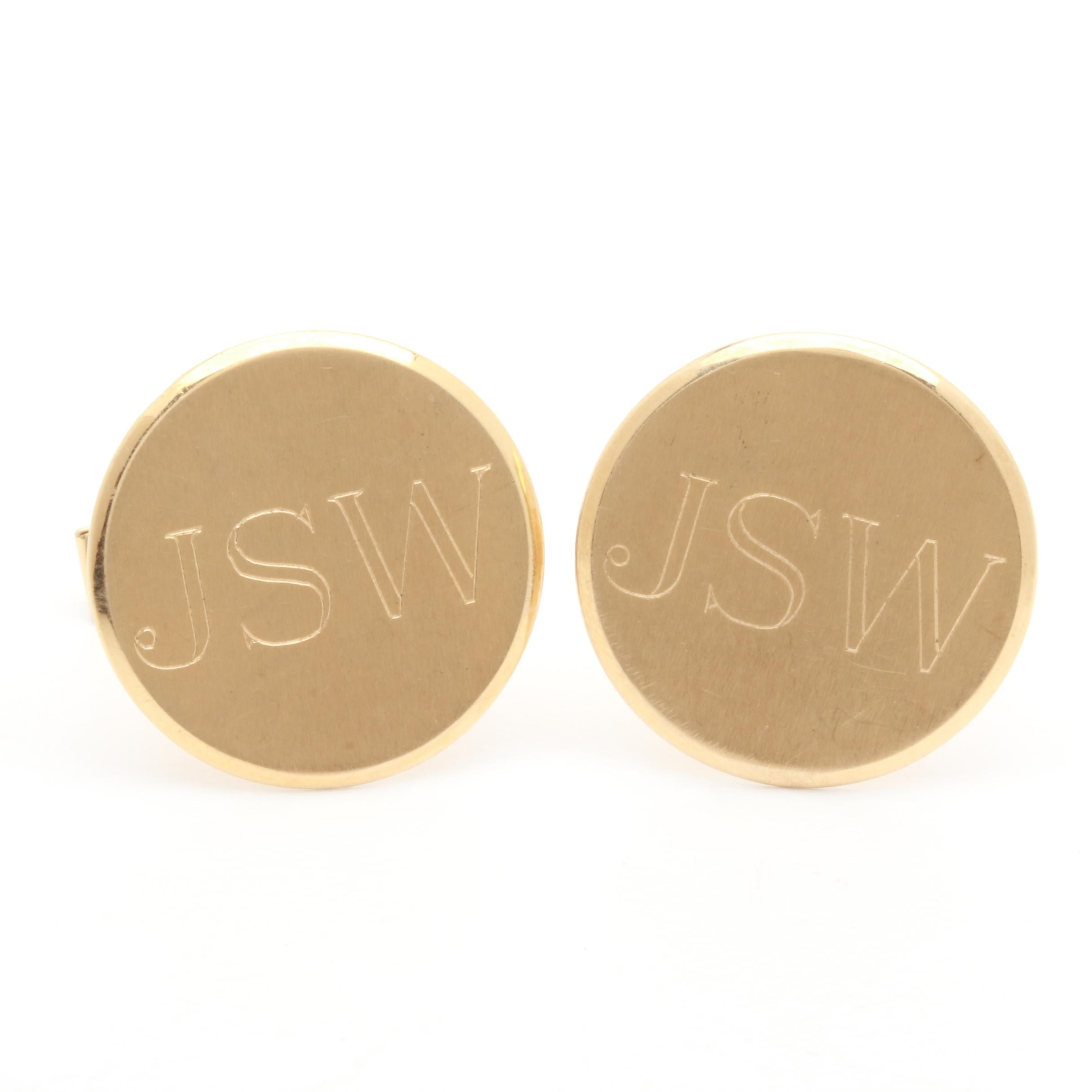 14K Yellow Gold Circular Disc Cuff Links
