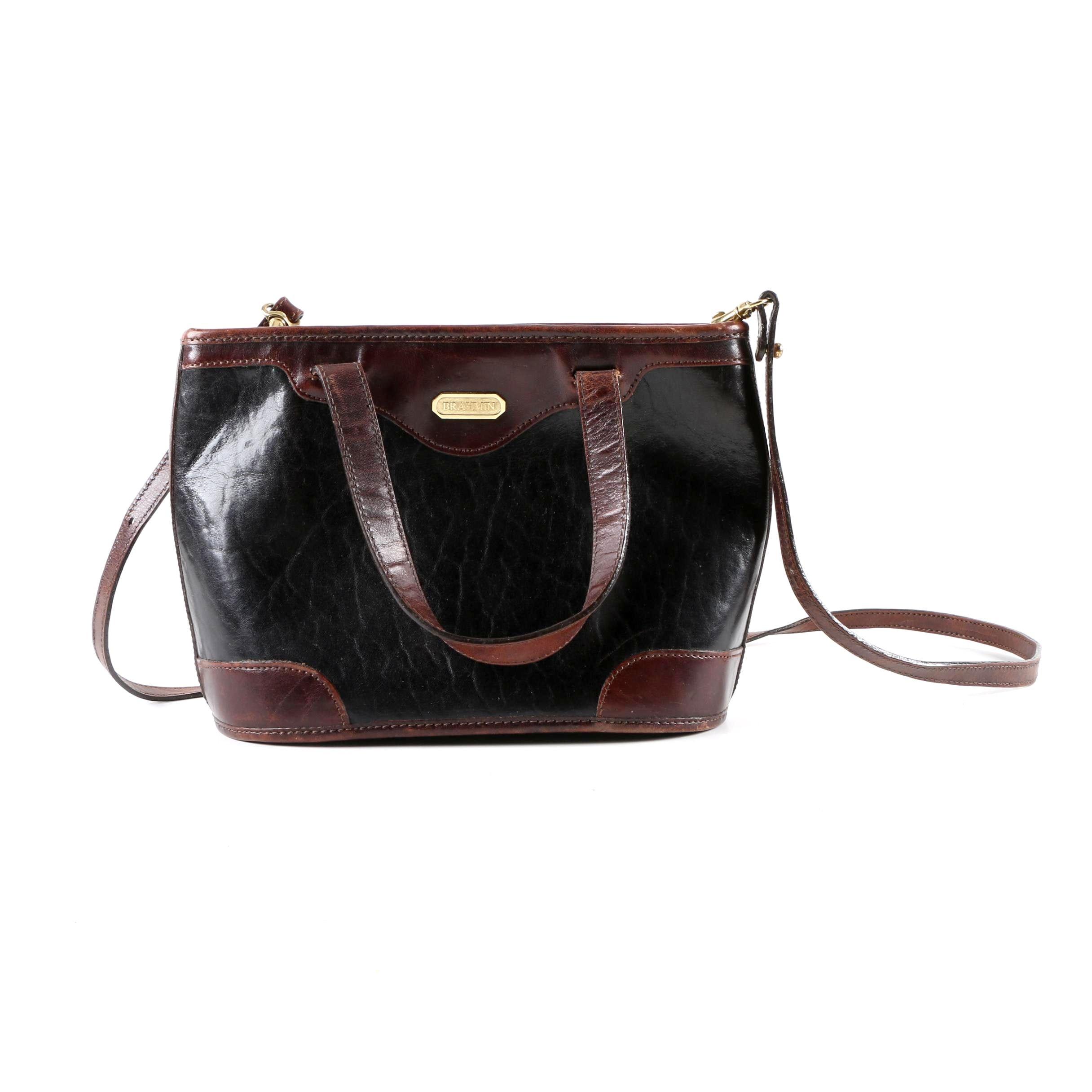 Brahmin Black and Brown Leather Handbag