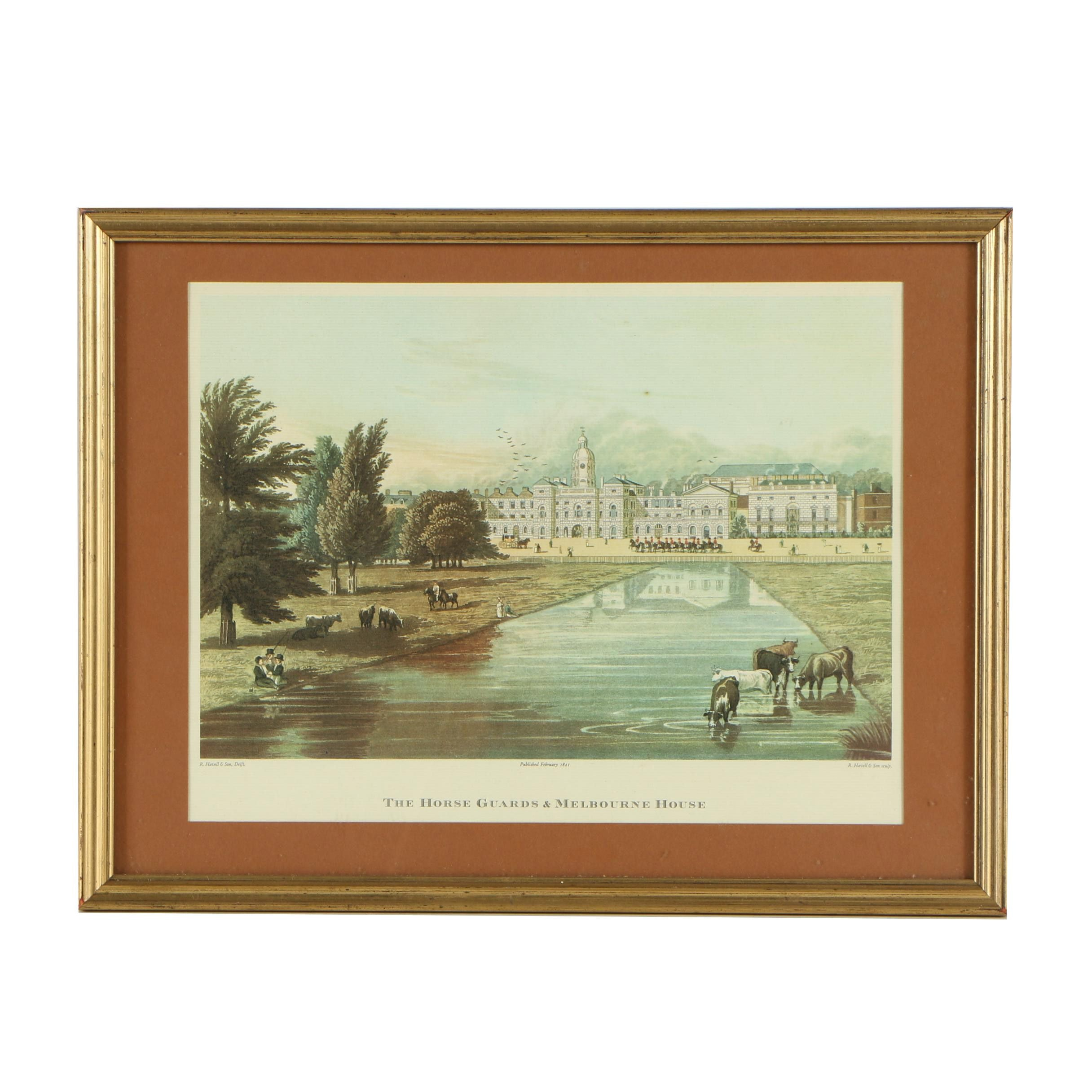 """After R. Havell & Sons Vintage Lithograph """"The Horse Guards & Melbourne House"""""""