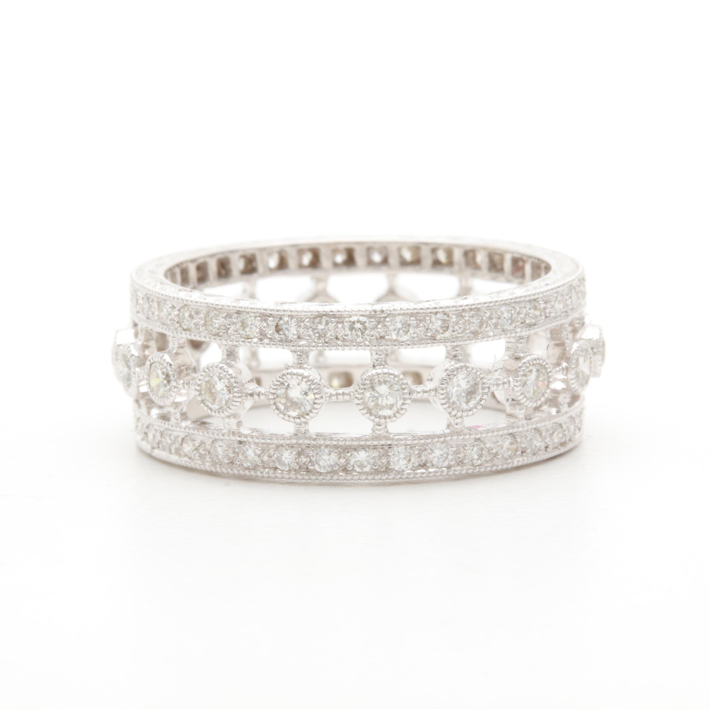 Barry Kieselstein-Cord 18K White Gold and Diamond Ring