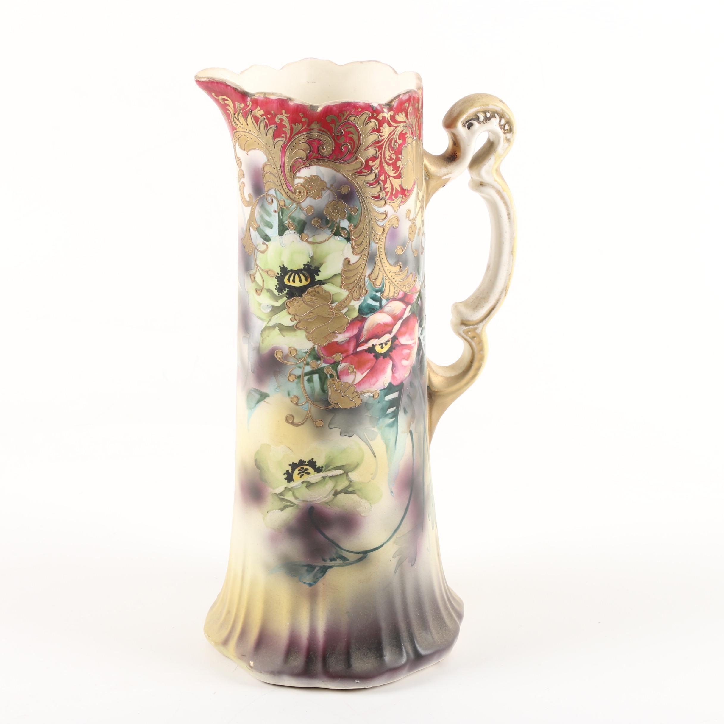 Vintage Royal Nishiki Nippon Hand-Painted Porcelain Pitcher