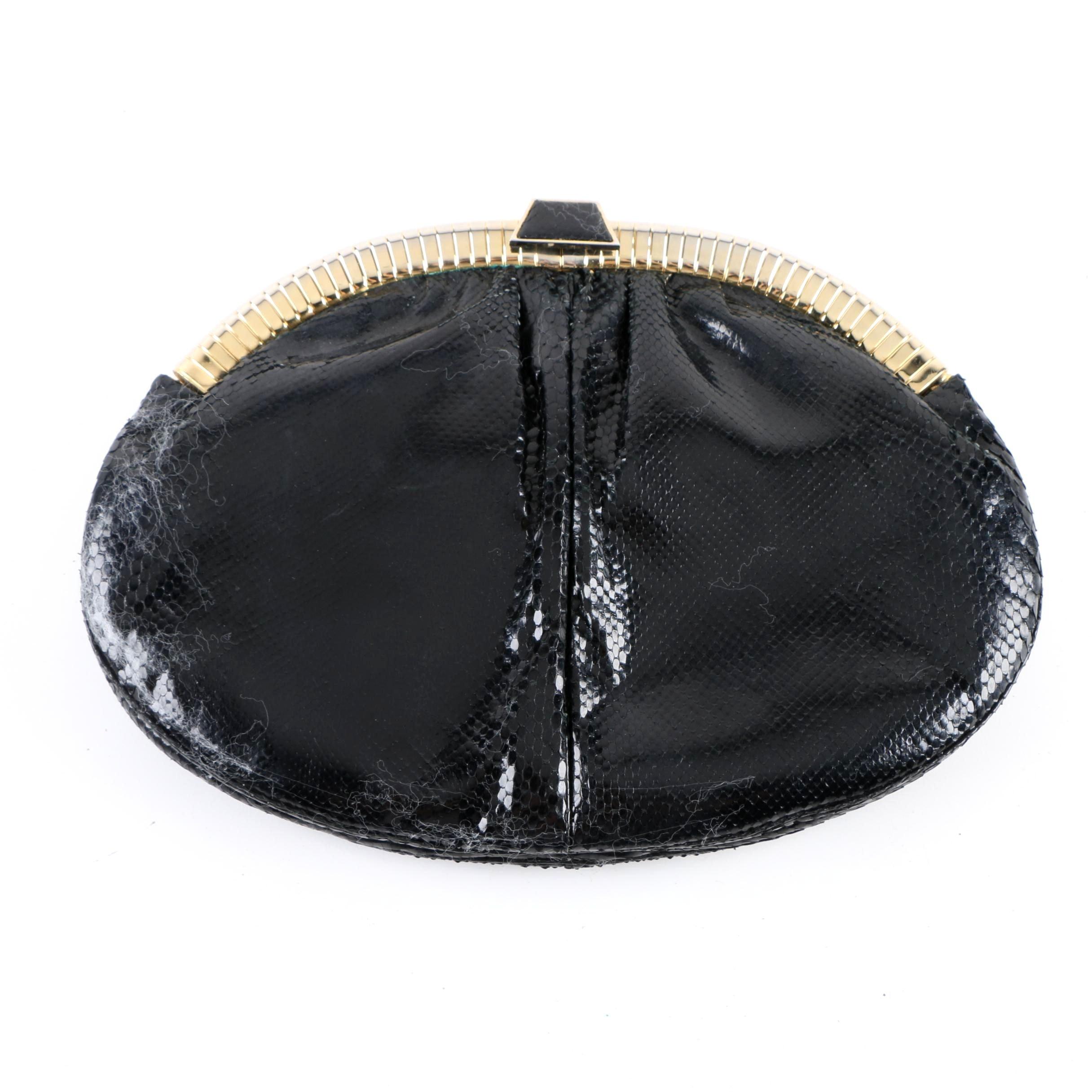 Vintage Judith Leiber Black Karung Snakeskin Clutch