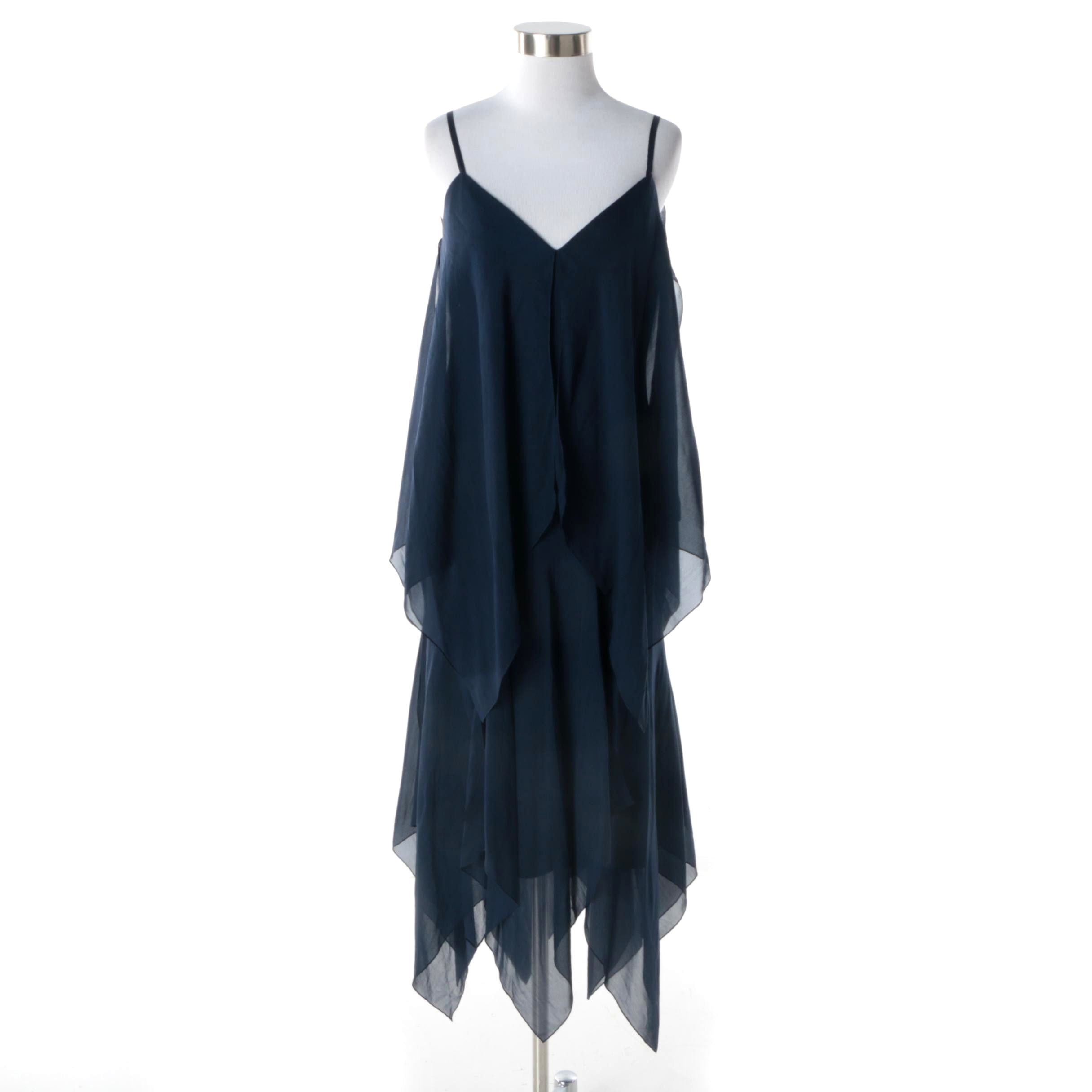 1970s Sheer Layered Navy Chiffon Handkerchief Hem Midi Evening Dress
