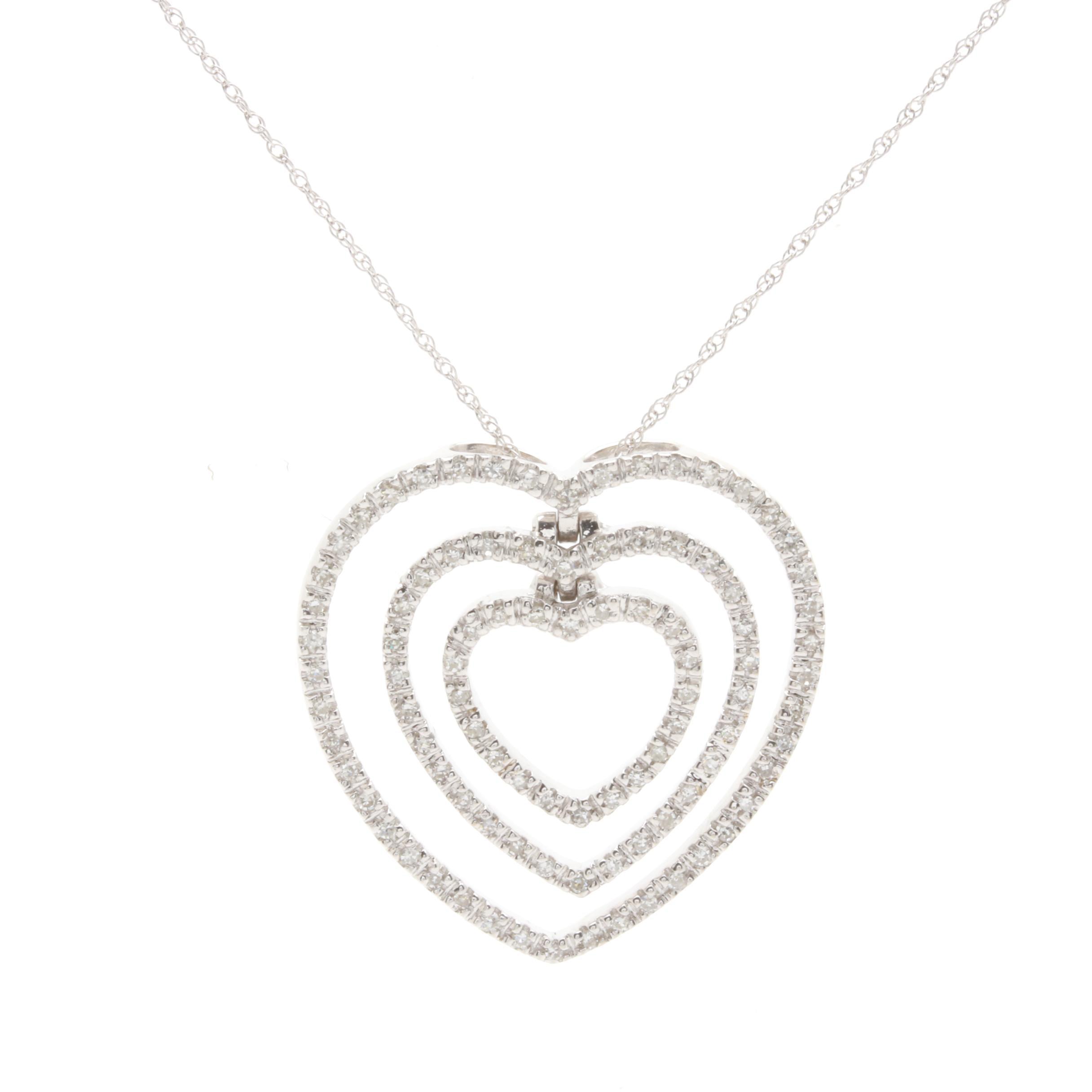 10K and 14K White Gold Diamond Heart Pendant Necklace