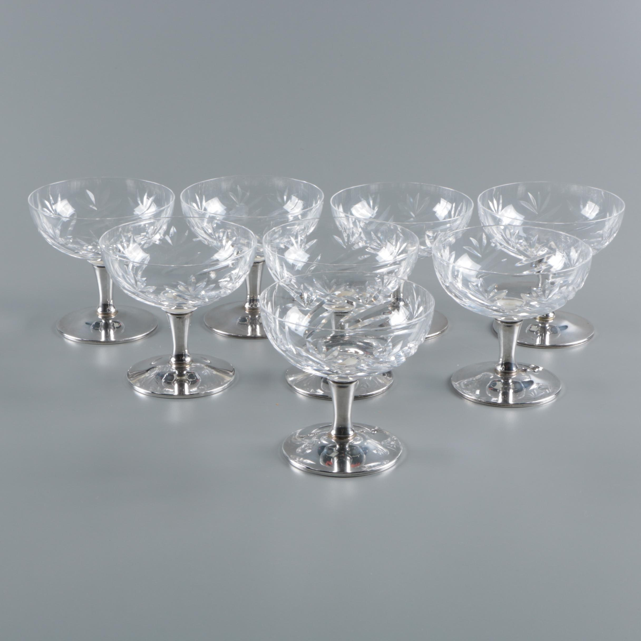 Gorham Crystal and Weighted Sterling Silver Champagne Coupes
