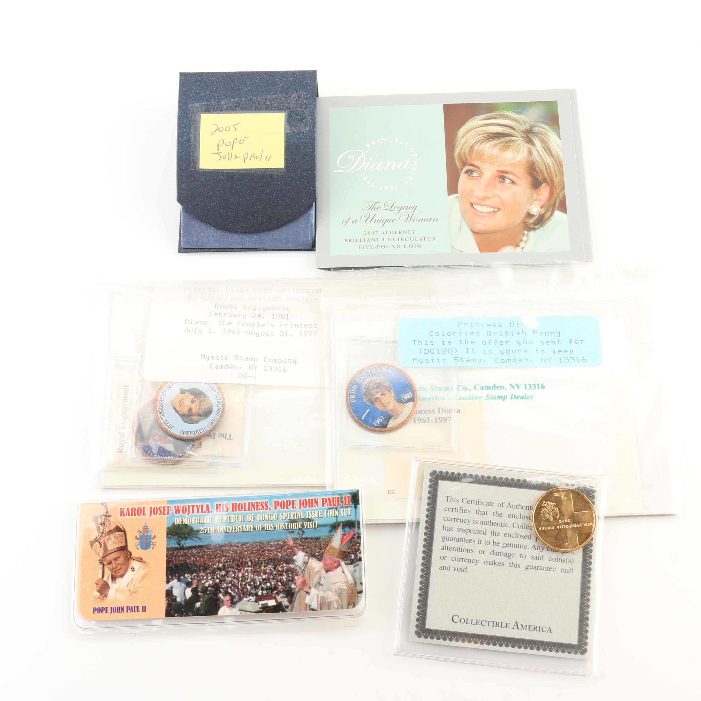 Group of Pope John Paul II and Princess Diana Commemorative Coins