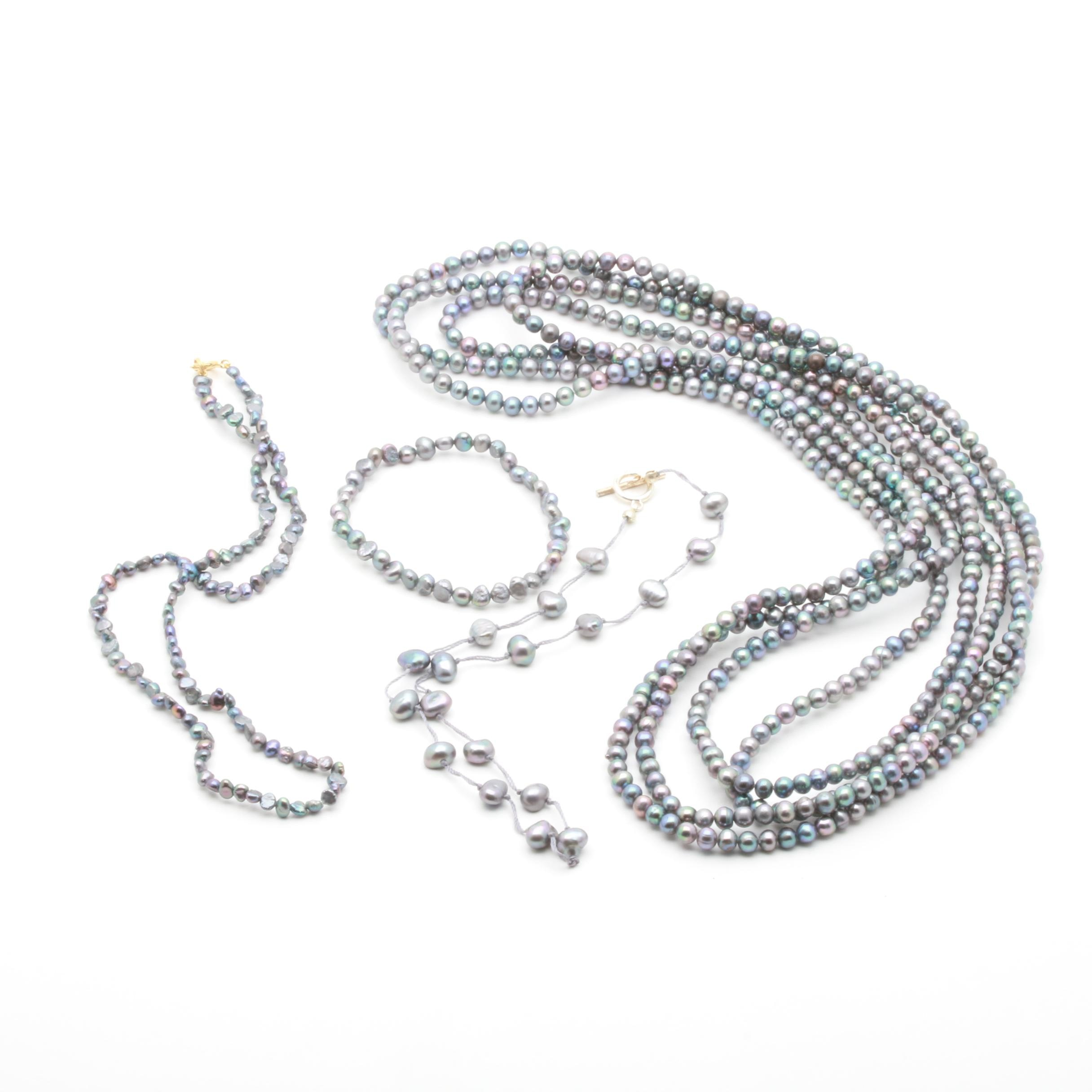 Sterling Silver Cultured Pearl Necklace and Bracelet Assortment