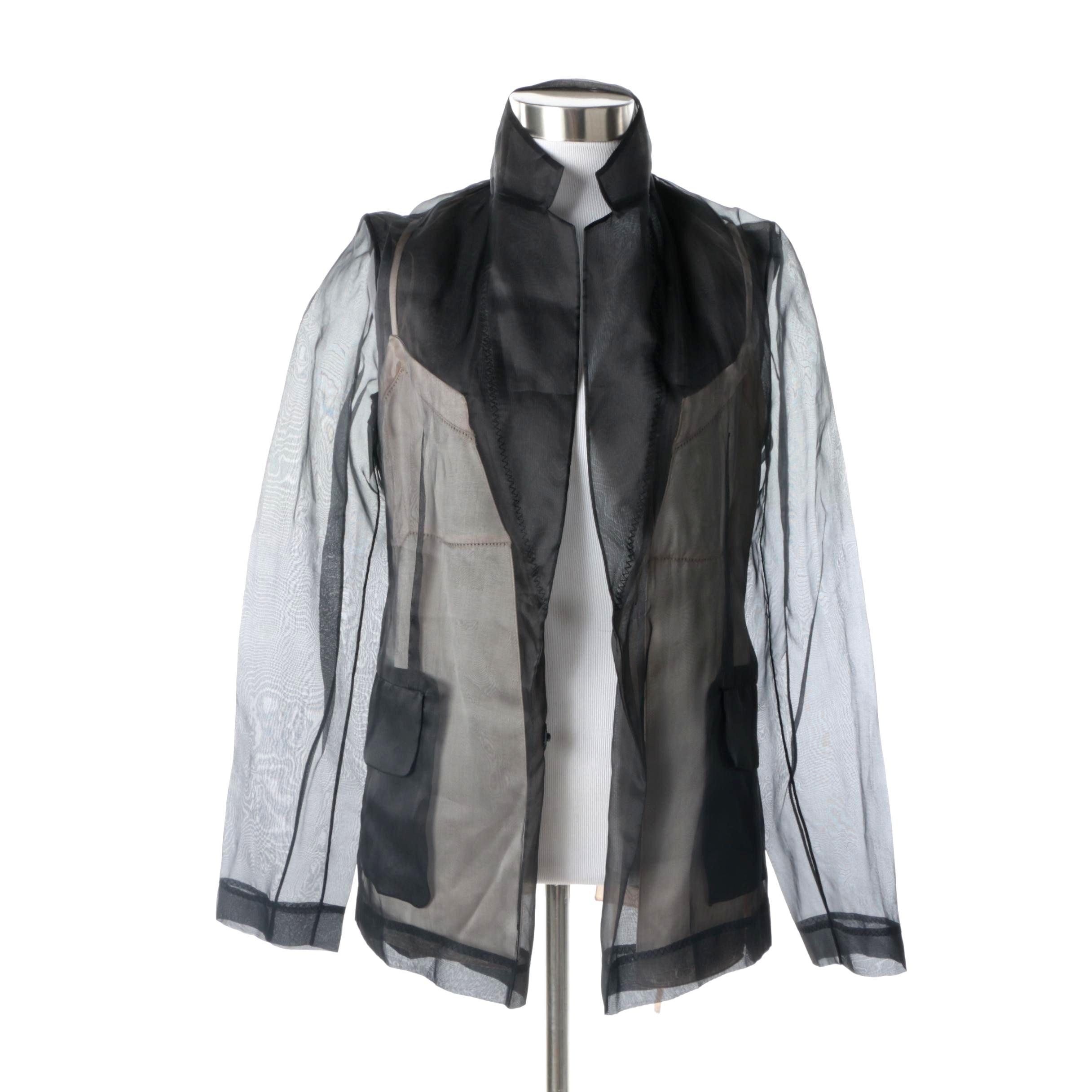 2016 Maison Margiela Black Silk Organza Jacket