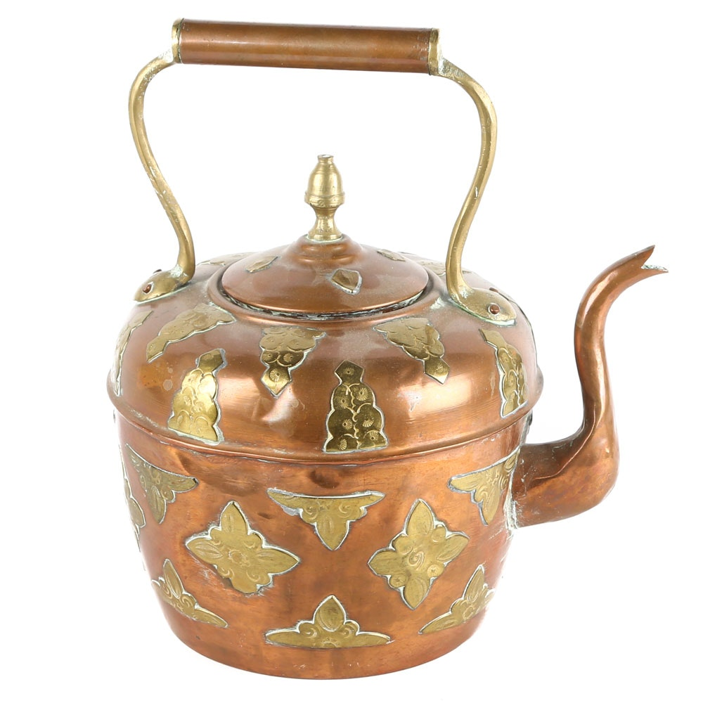 Copper and Brass Accented Tea Kettle