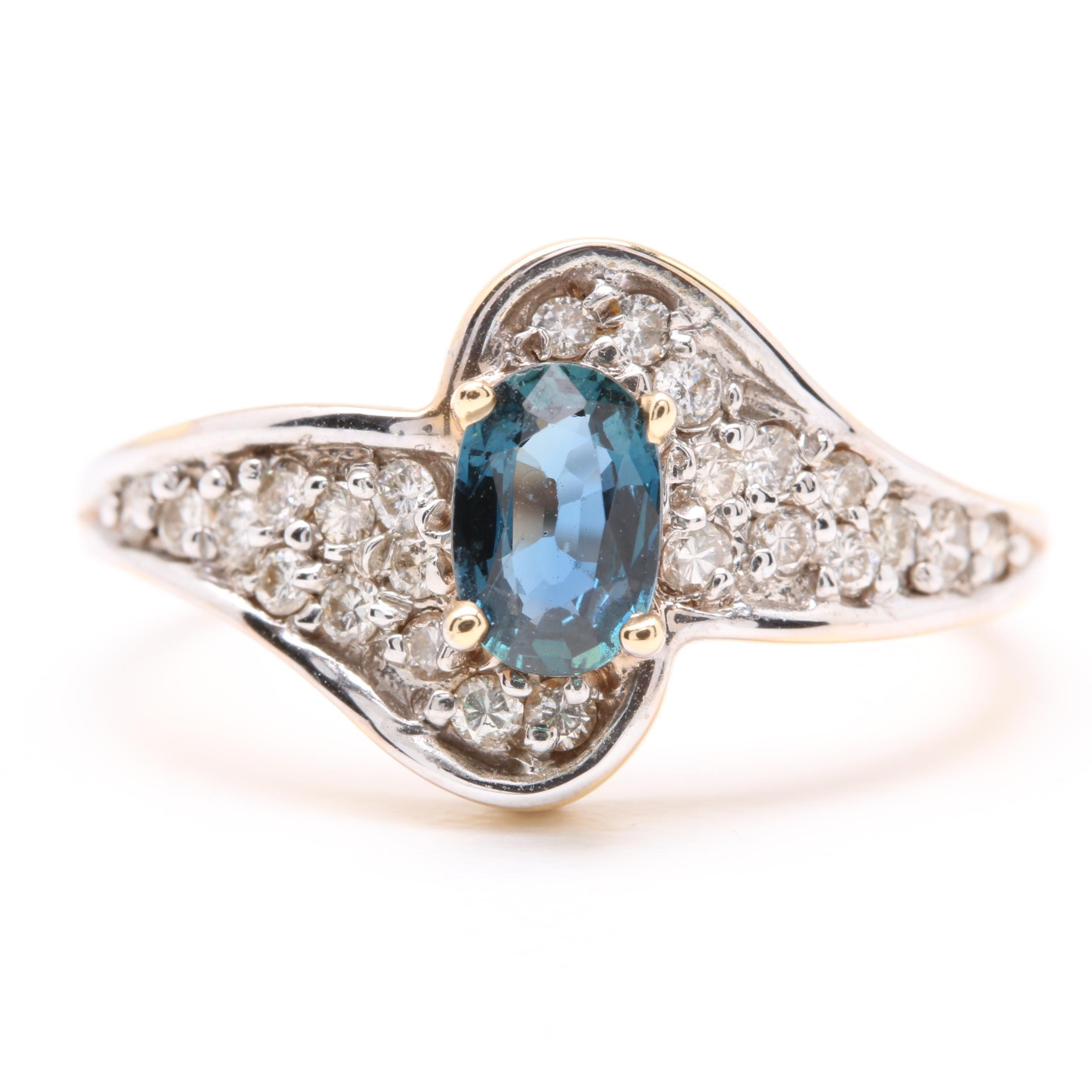 14K Yellow Gold Blue Sapphire and Diamond Ring with White Gold Accent