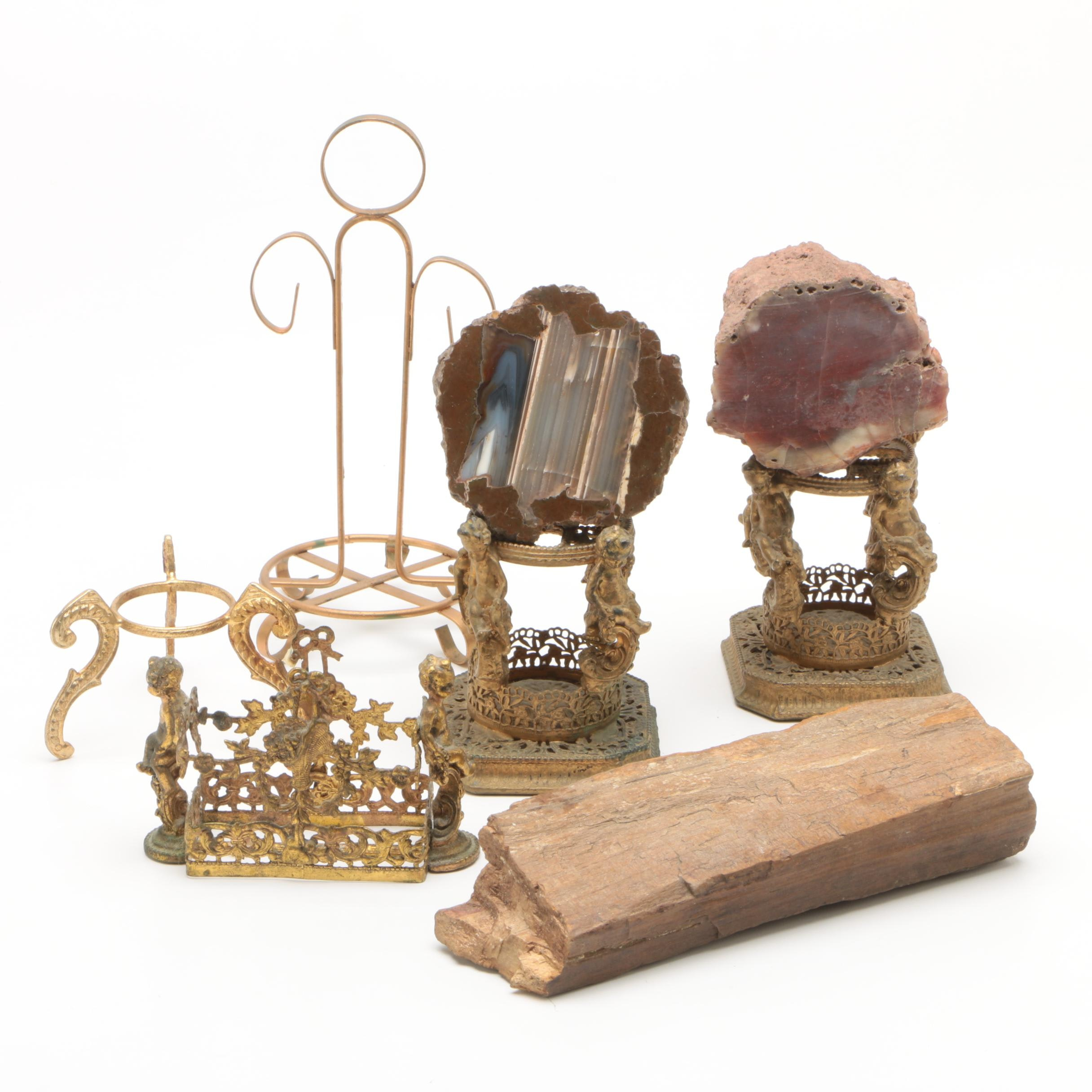 Brass Stands and Mineral Specimens Including Petrified Wood