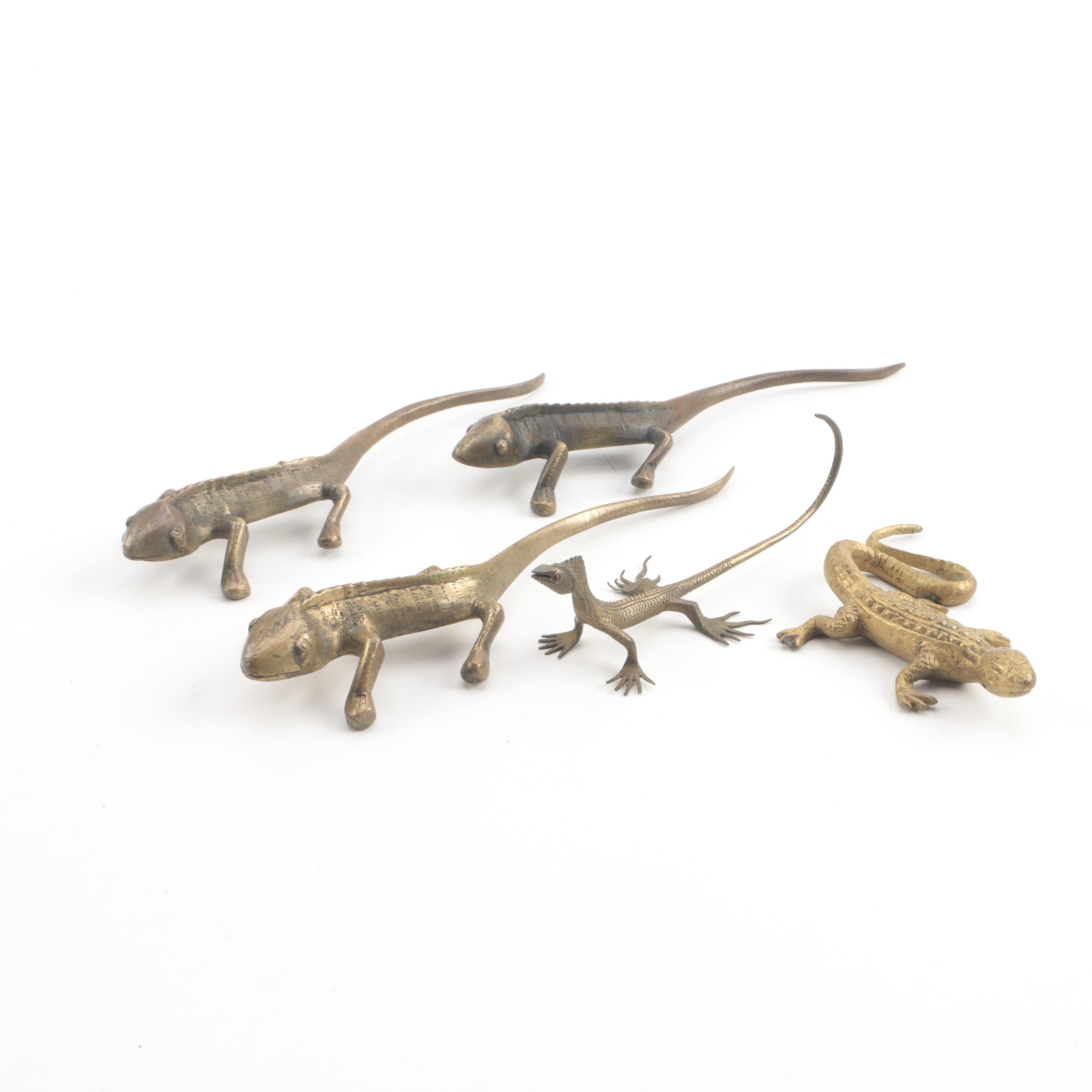 Vintage Brass Lizard Figurines from India and Korea