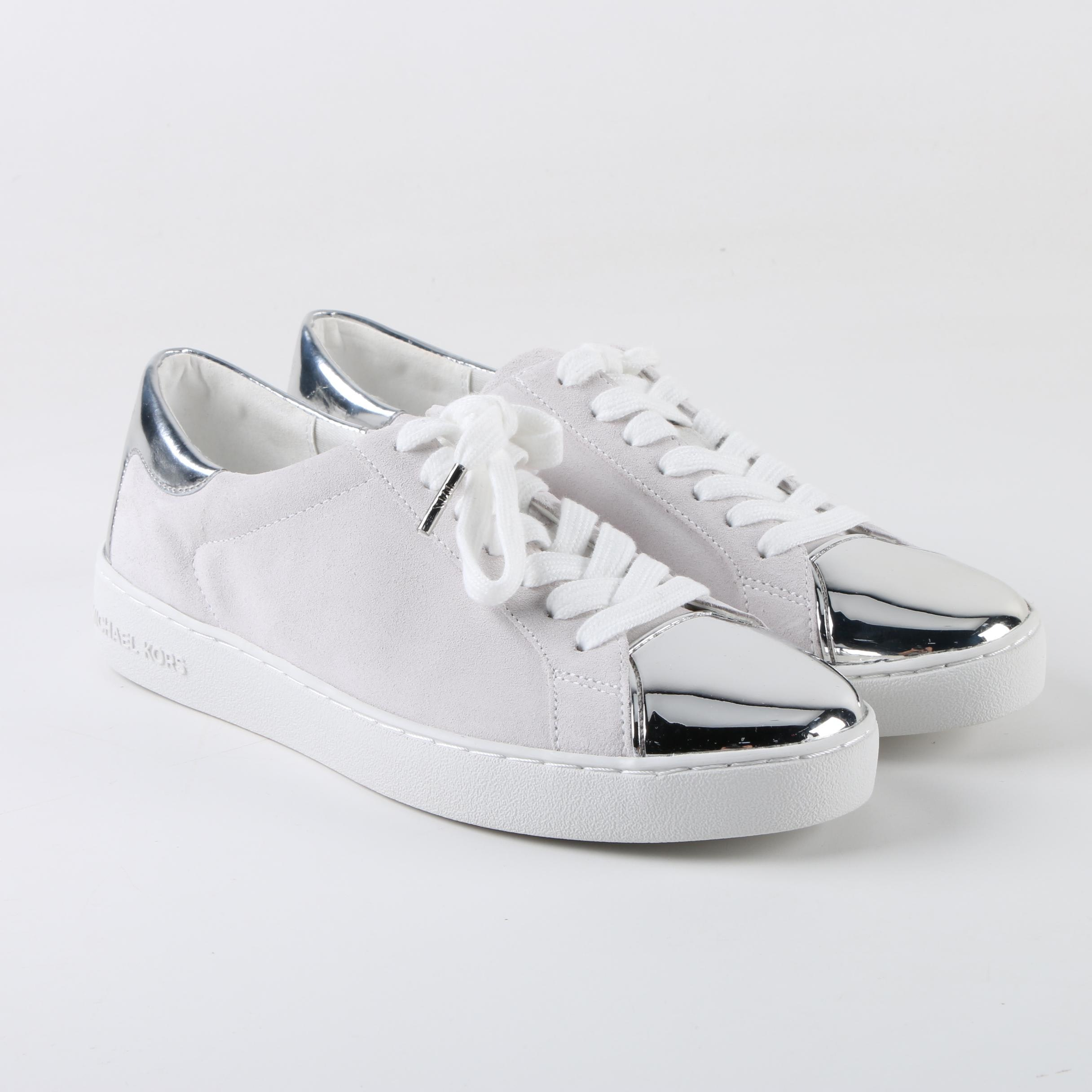 Women's MICHAEL Michael Kors Off-White Suede Sneakers with Metallic Accents