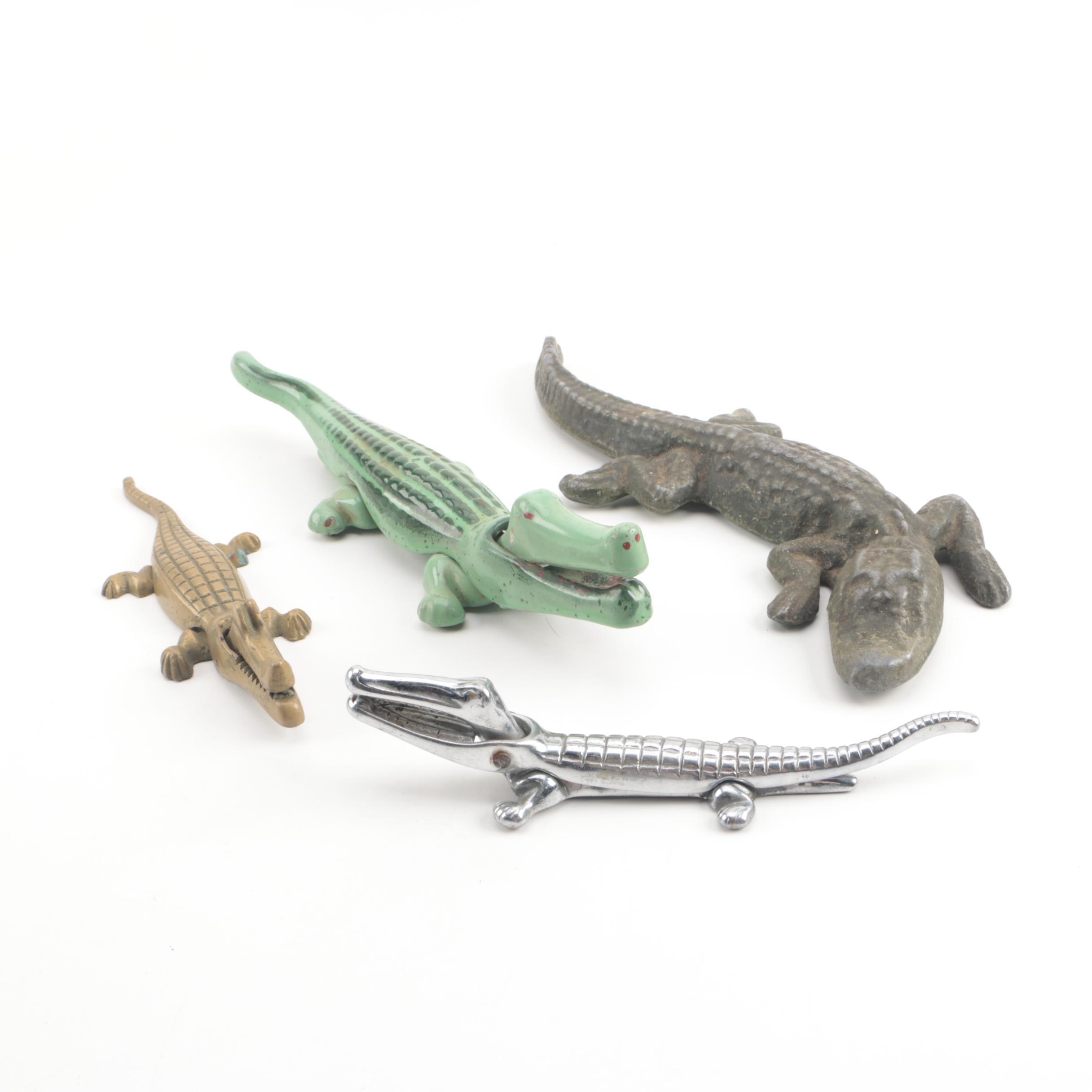 Metal Crocodile Nutcrackers and Alligator Figurine