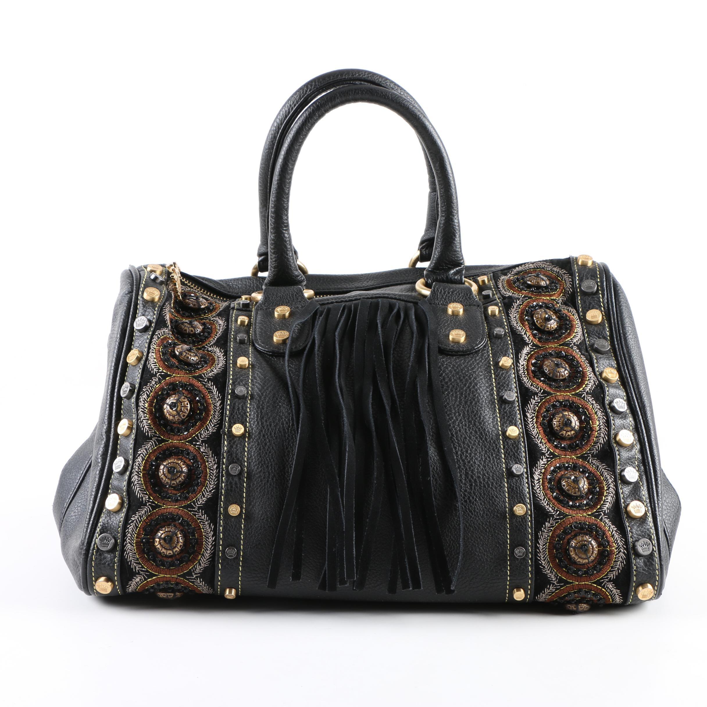 Christian Audigier Los Angeles Black Studded Handbag with Dust Cover