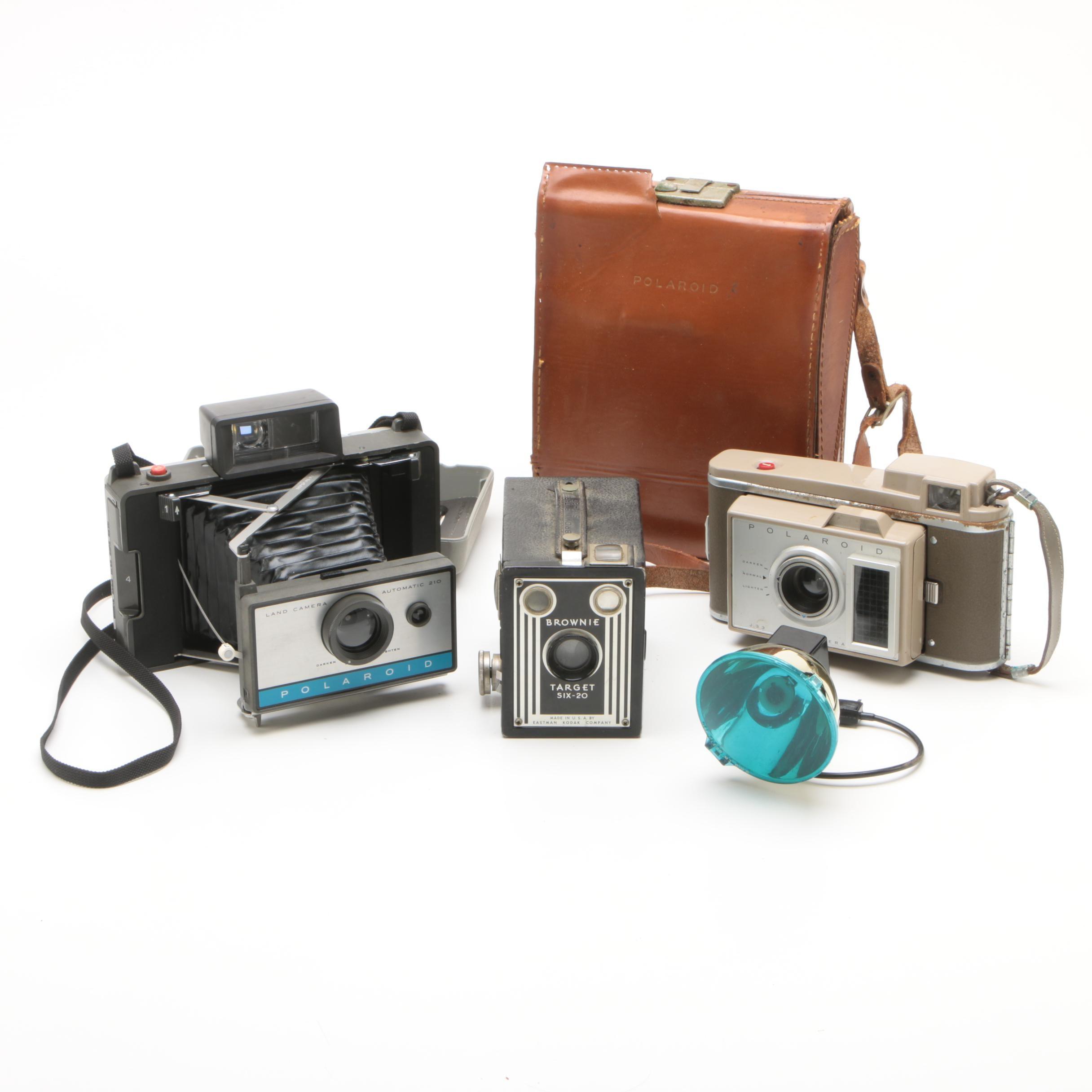 Vintage Polaroid Land Cameras and Accessories with Kodak Brownie Box Camera
