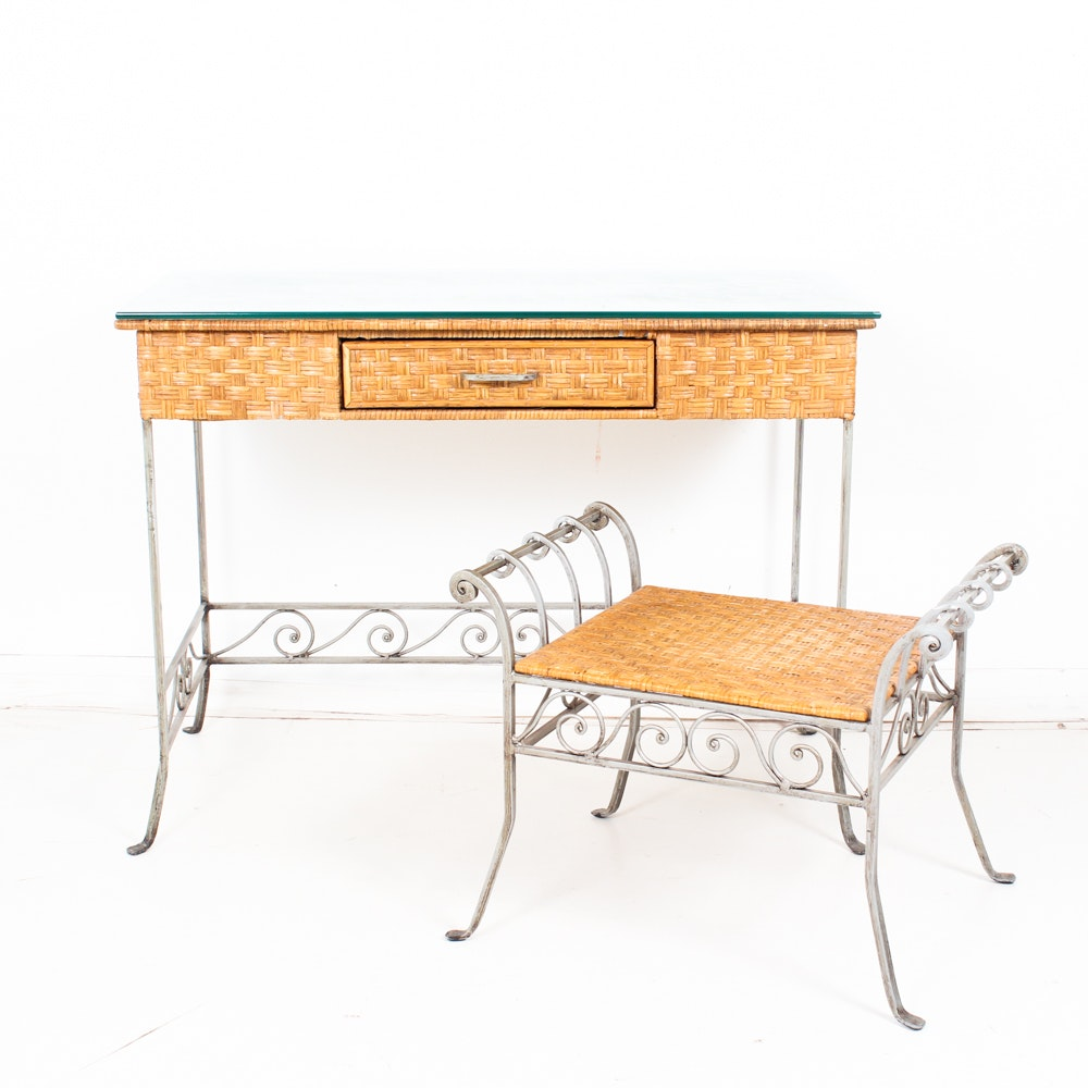 Metal Frame Desk and Stool with Woven Cane Surface