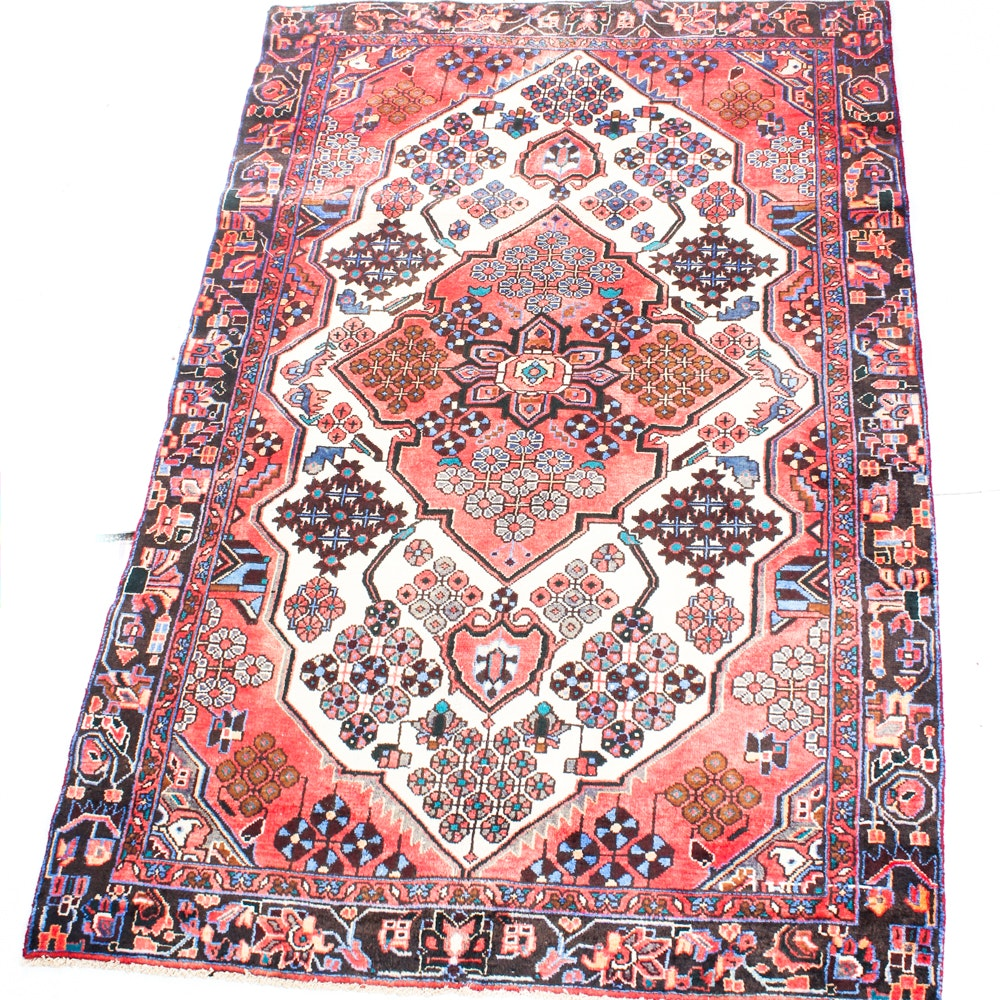 4'2 x 6'8 Vintage Hand-Knotted Persian Karaja Heriz Rug