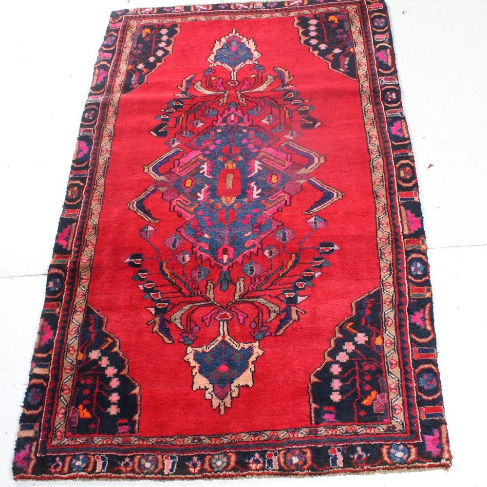 4'4 x 7'3 Vintage Hand-Knotted Persian Mahal Sarouk Rug