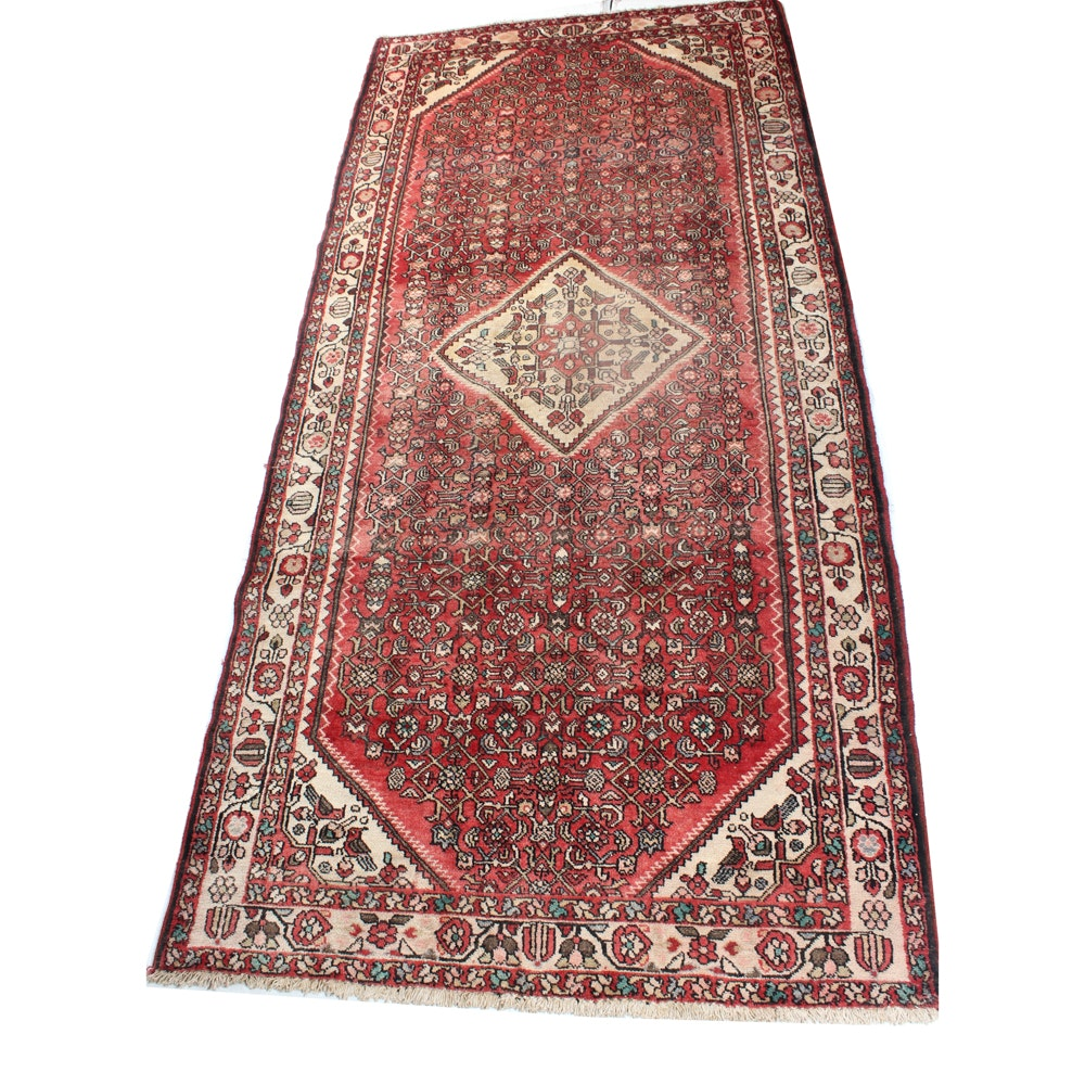4'10 x 10'8 Vintage Hand-Knotted Persian Malayer Rug