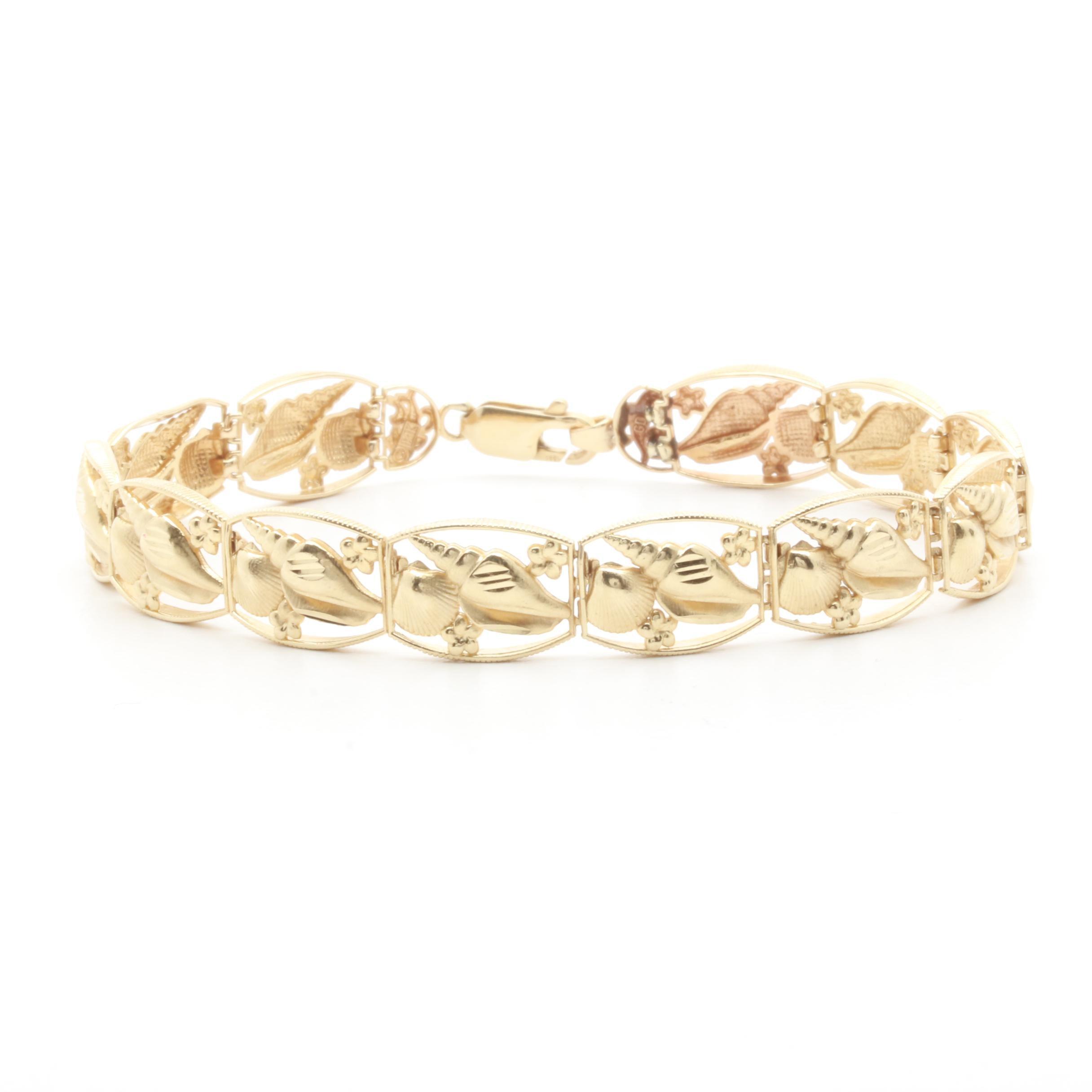 14K Yellow Gold Seashell Design Link Bracelet