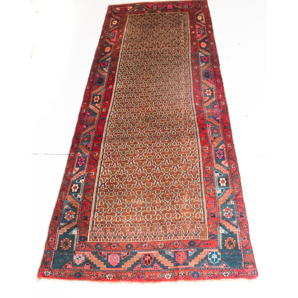 4' x 9'10 Vintage Hand-Knotted Persian Senneh Bijar Rug