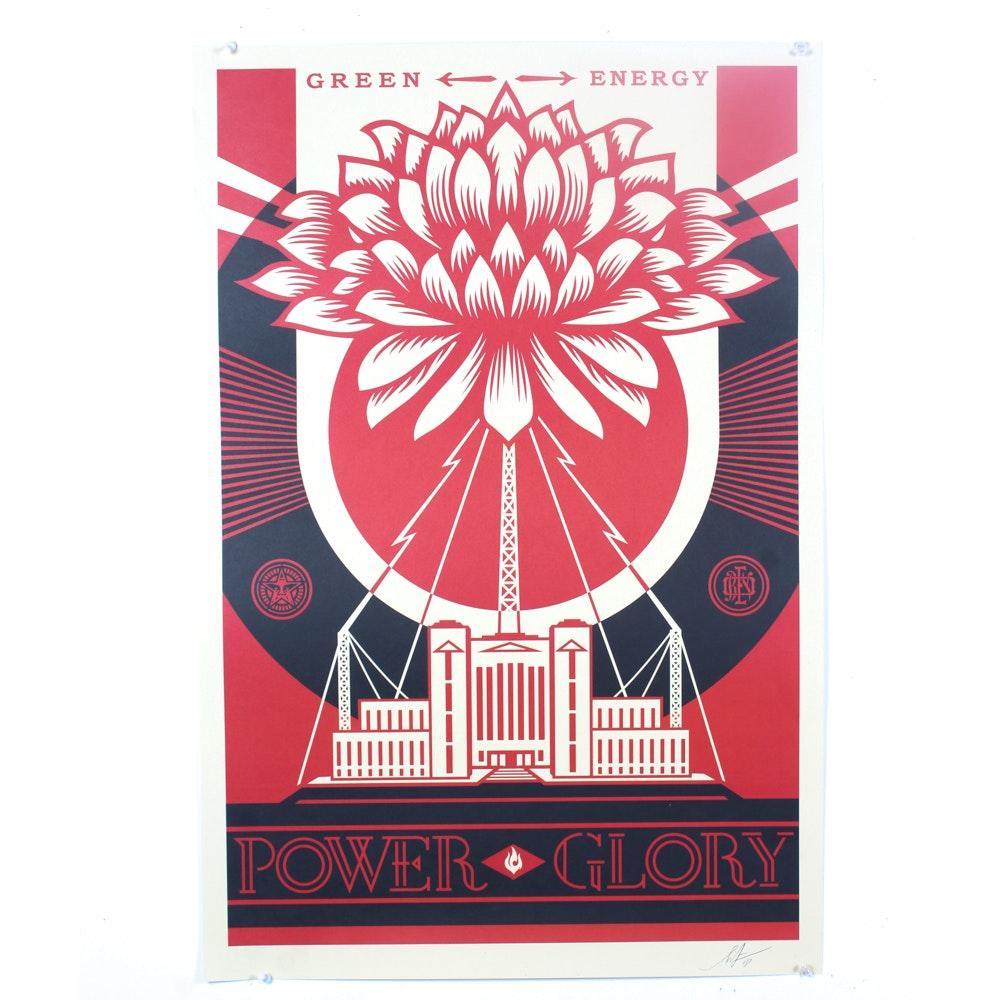 """Shepard Fairey Signed Offset Print """"Green Power"""""""