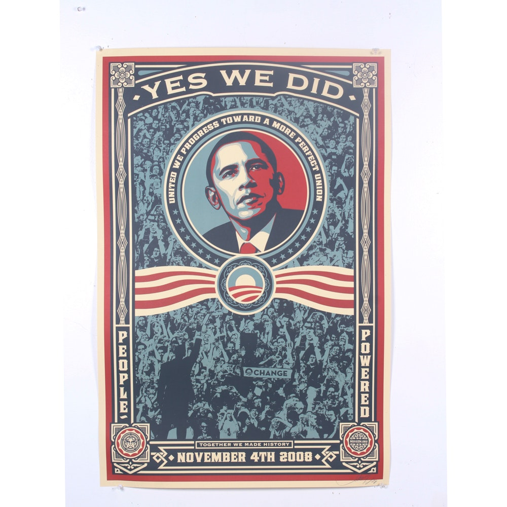 """Shepard Fairey Offset Print """"Yes We Did!"""""""