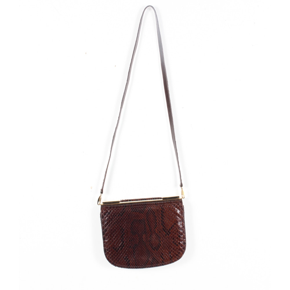 Vintage Bally Dyed Python Skin and Leather Crossbody Bag