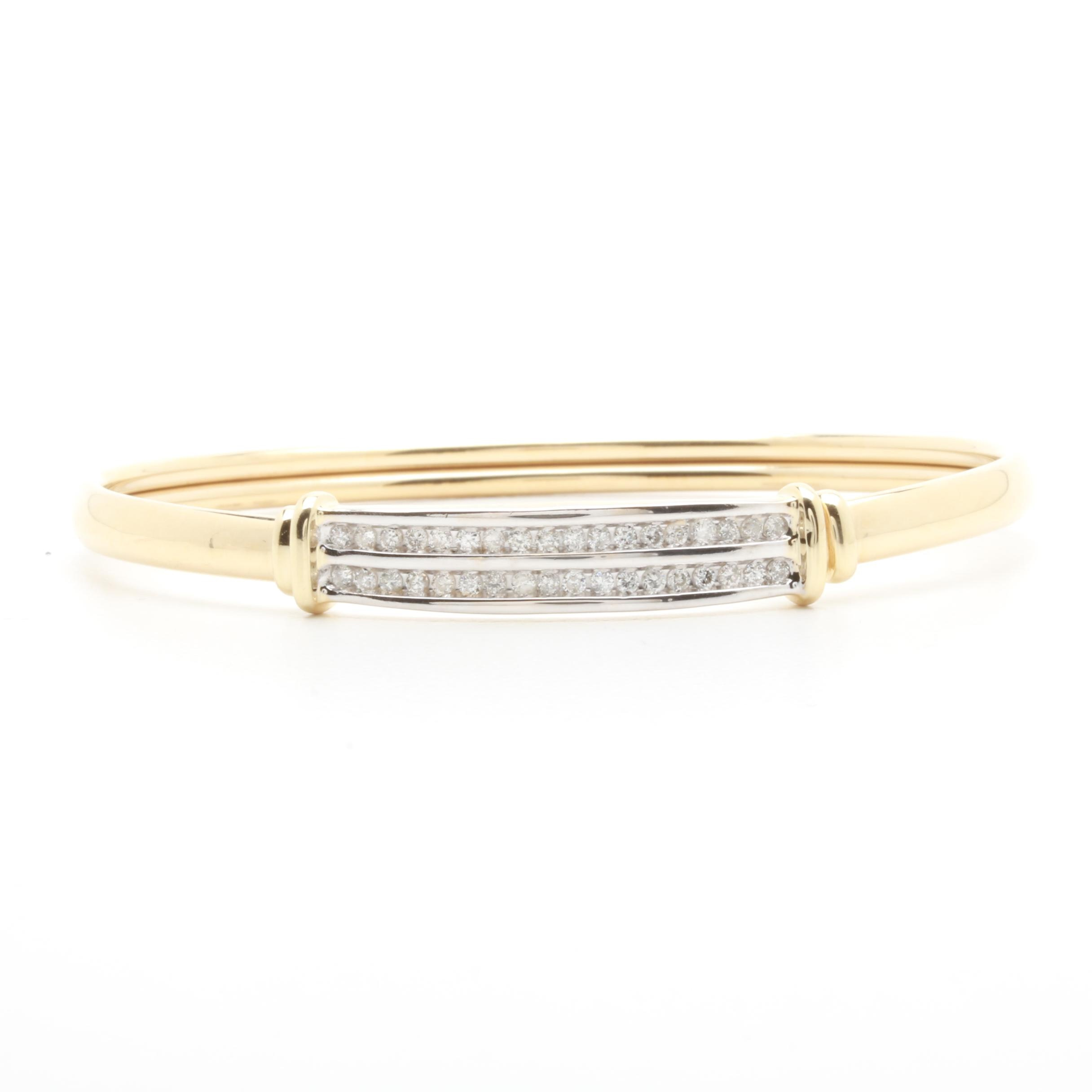 14K Yellow Gold Diamond Channel Flexible Bangle with White Gold Accents