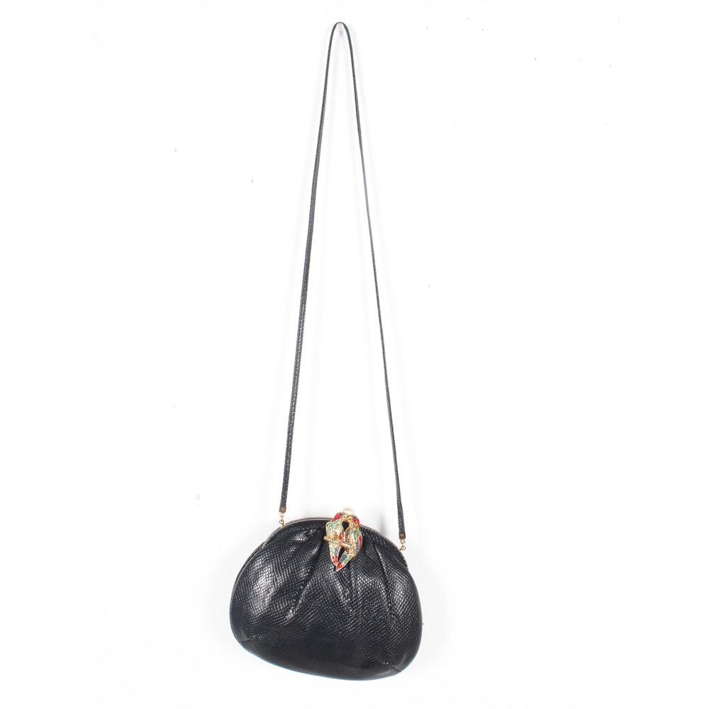 Judith Leiber New York Black Karung Leather Handbag