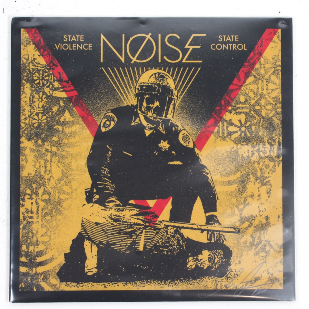 """Shepard Fairey Signed NØISE """"State Violence State Control"""" 45 RPM Record"""