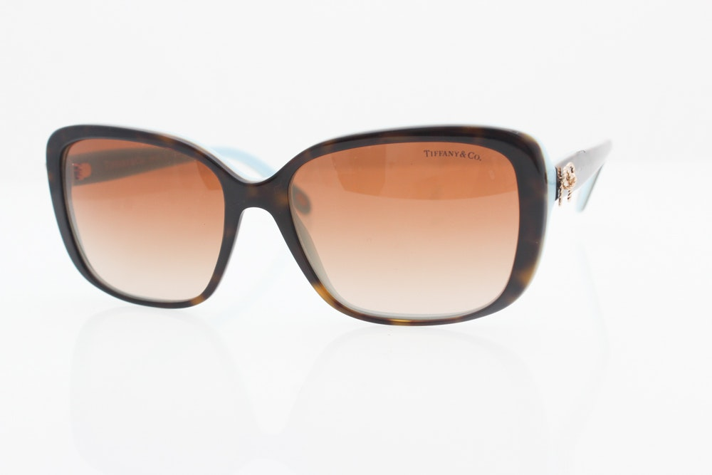 Tiffany & Co. Tortoiseshell and Blue Rectangular Sunglasses