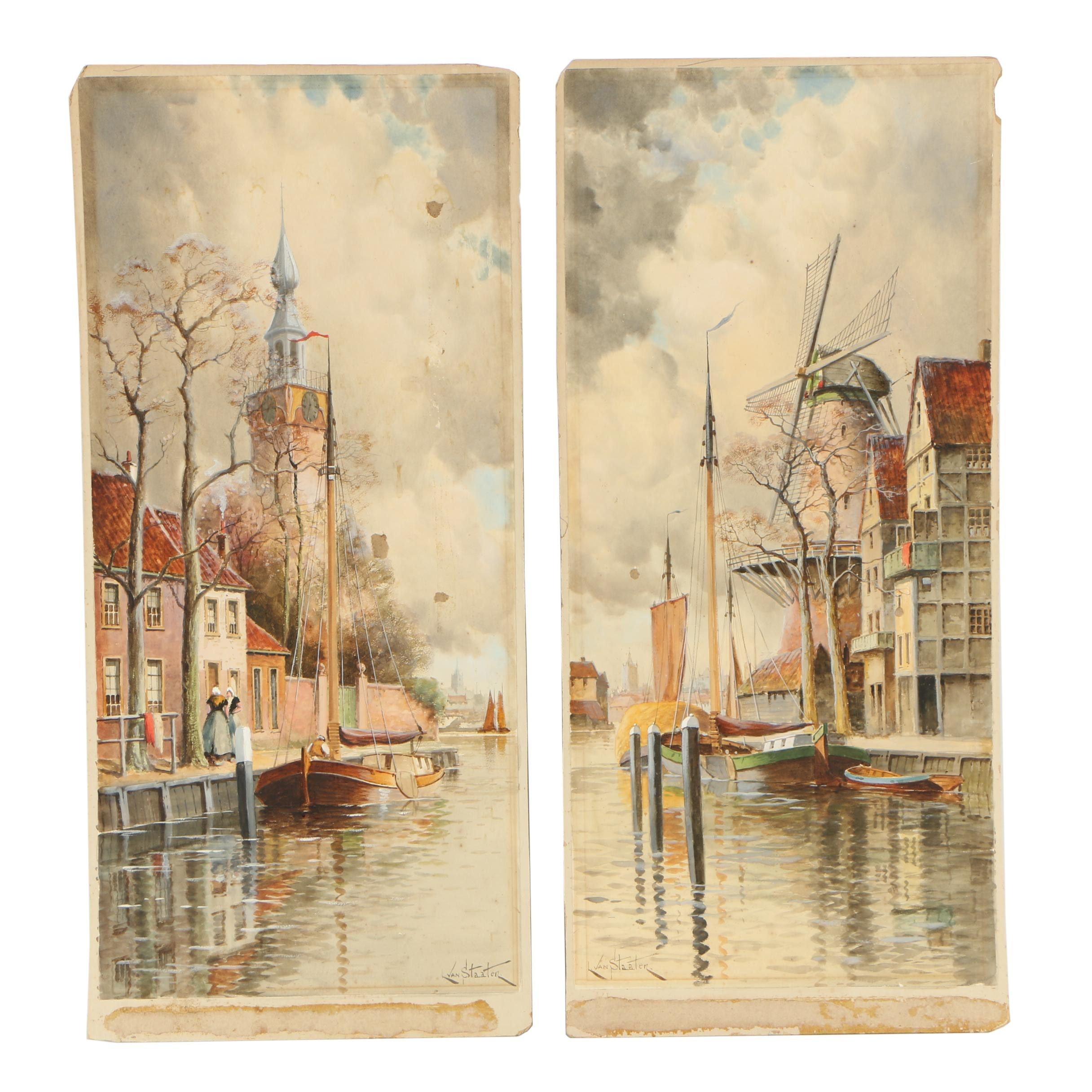 Louis Van Staaten Watercolor and Gouache Paintings of Coastal Scenes