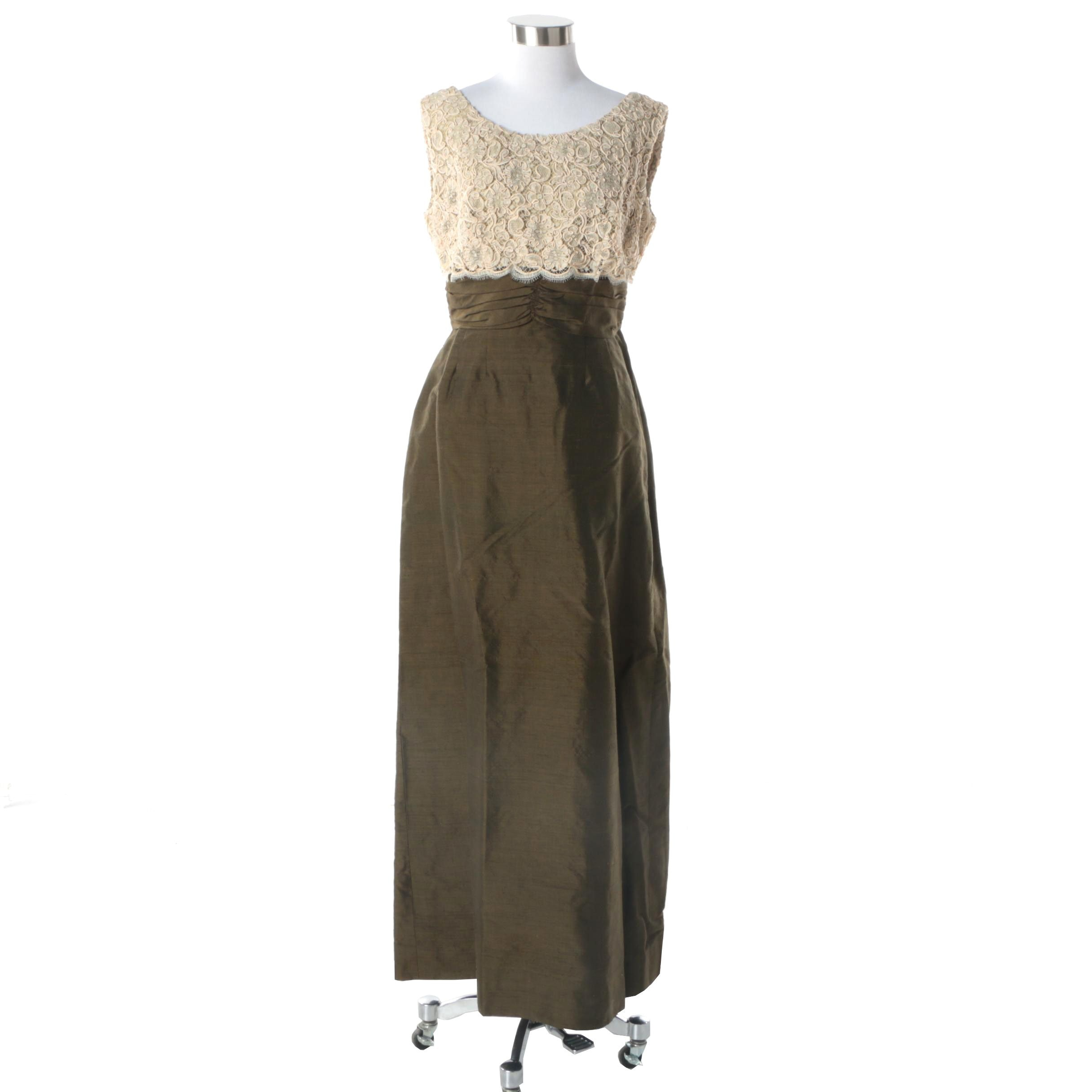 1950s Amfarco Thai Pure Silk and Floral Ribbon Lace Sleeveless Evening Dress