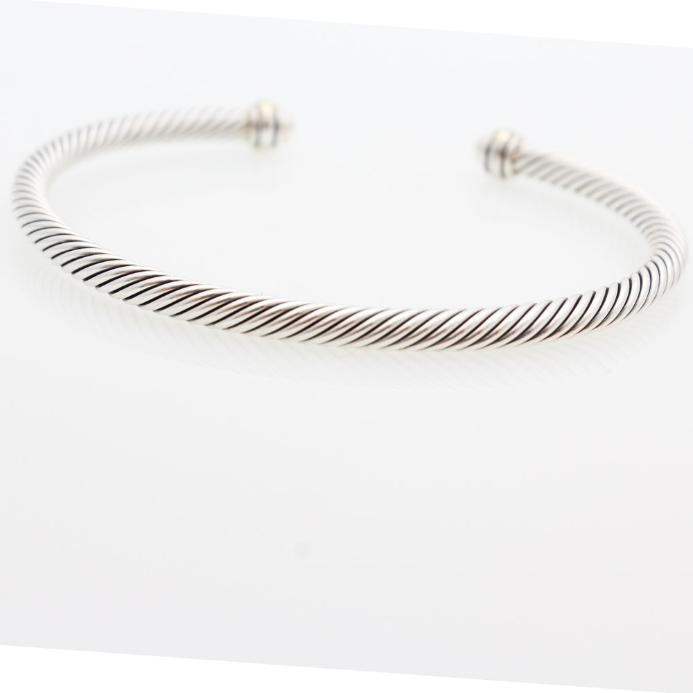 David Yurman Sterling Silver Cable Classics Bracelet with 18K Gold Accents