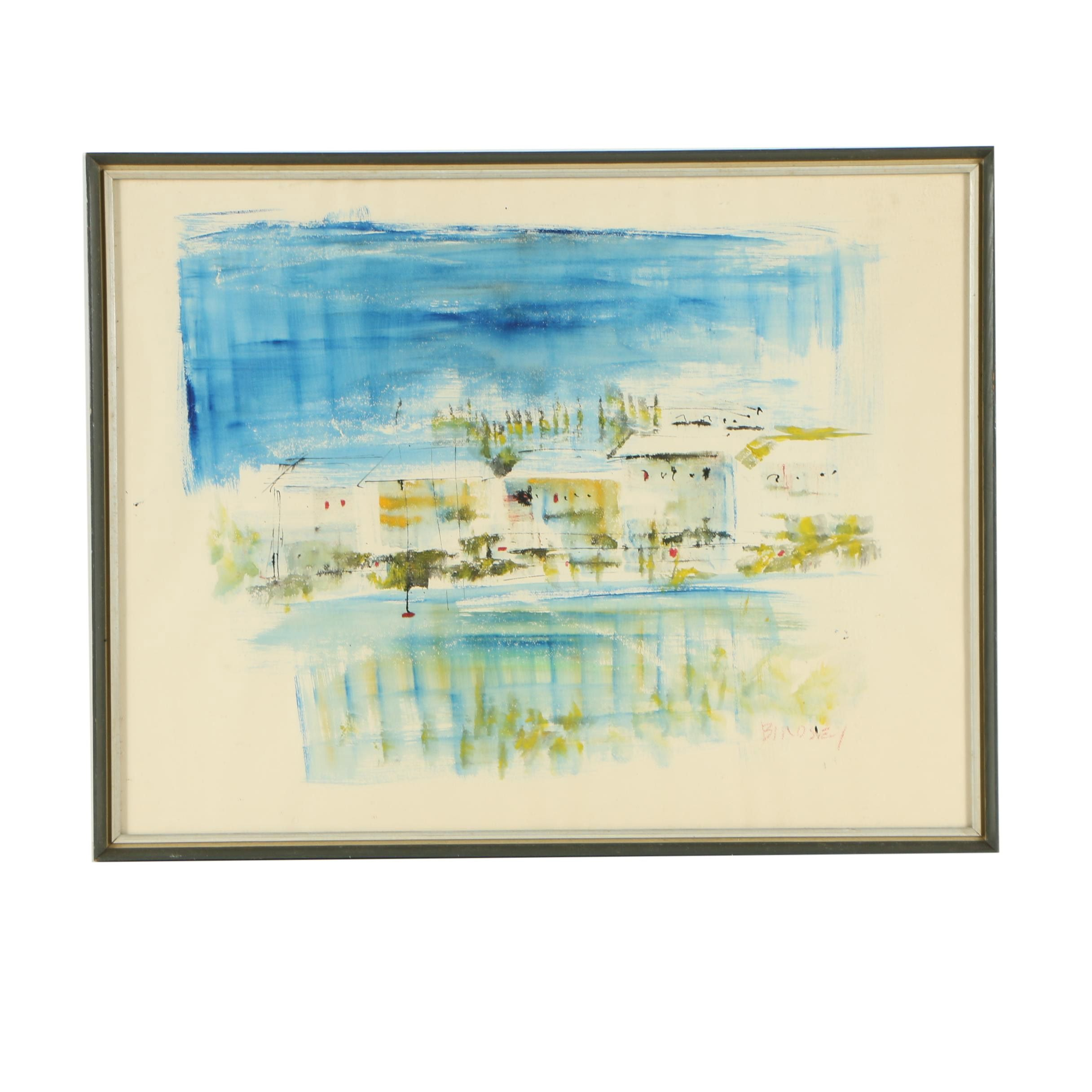 Alfred Birdsey Abstract Landscape Watercolor Painting