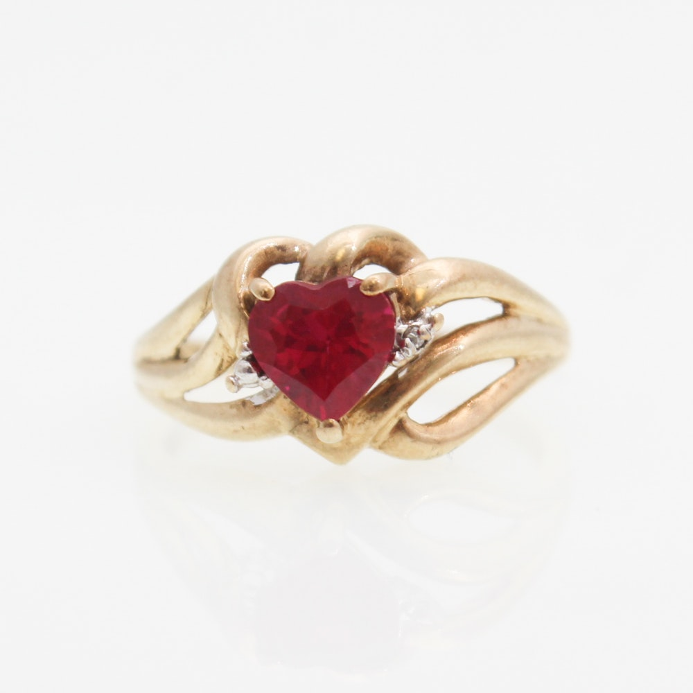 10K Yellow Gold, Synthetic Ruby, and Diamond Ring