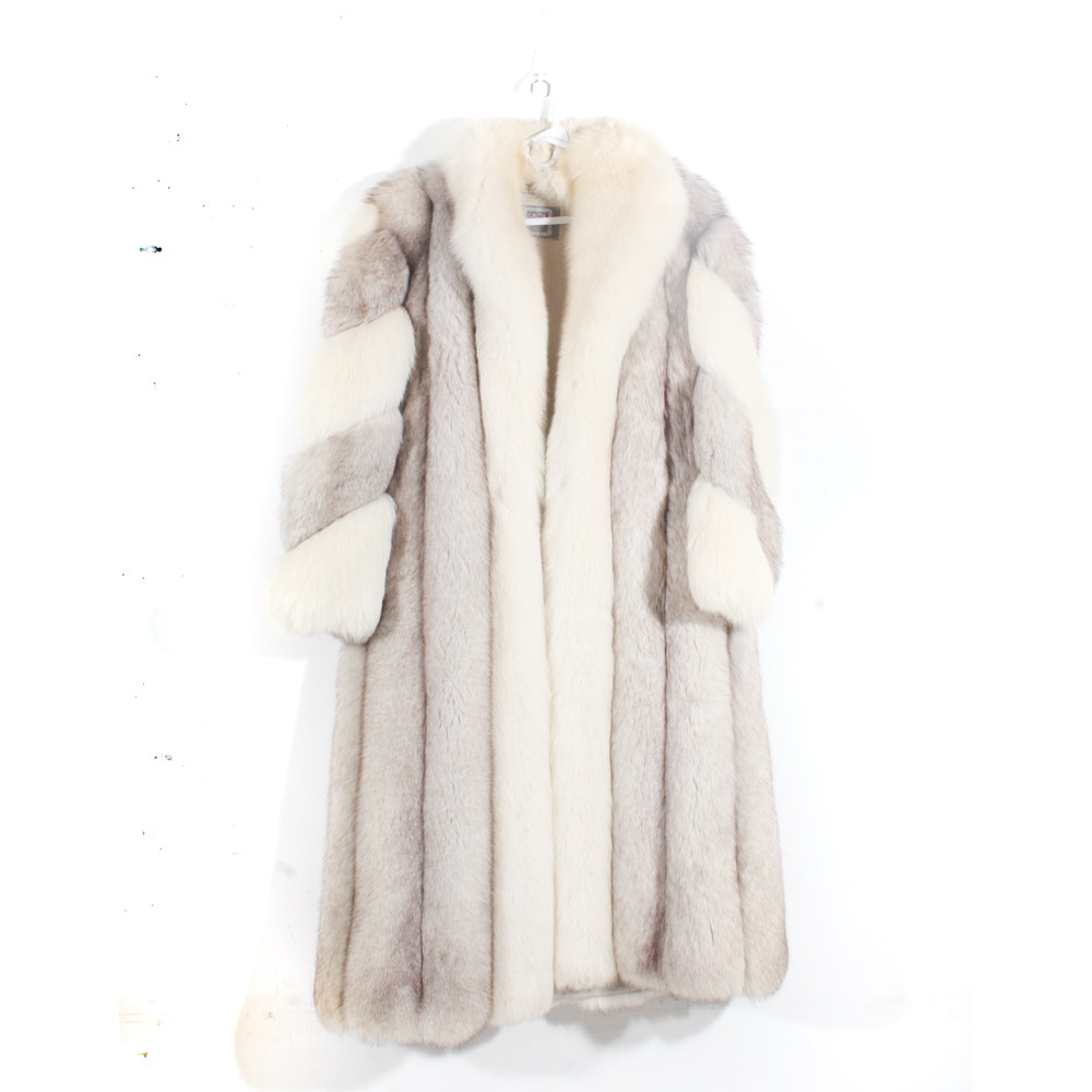 Vintage Saga Furs Two-Tone Blue Fox Fur Coat