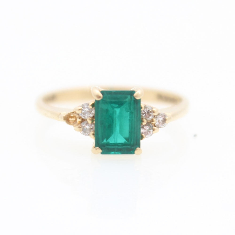 14K Yellow Gold, Synthetic Emerald and Diamond Ring